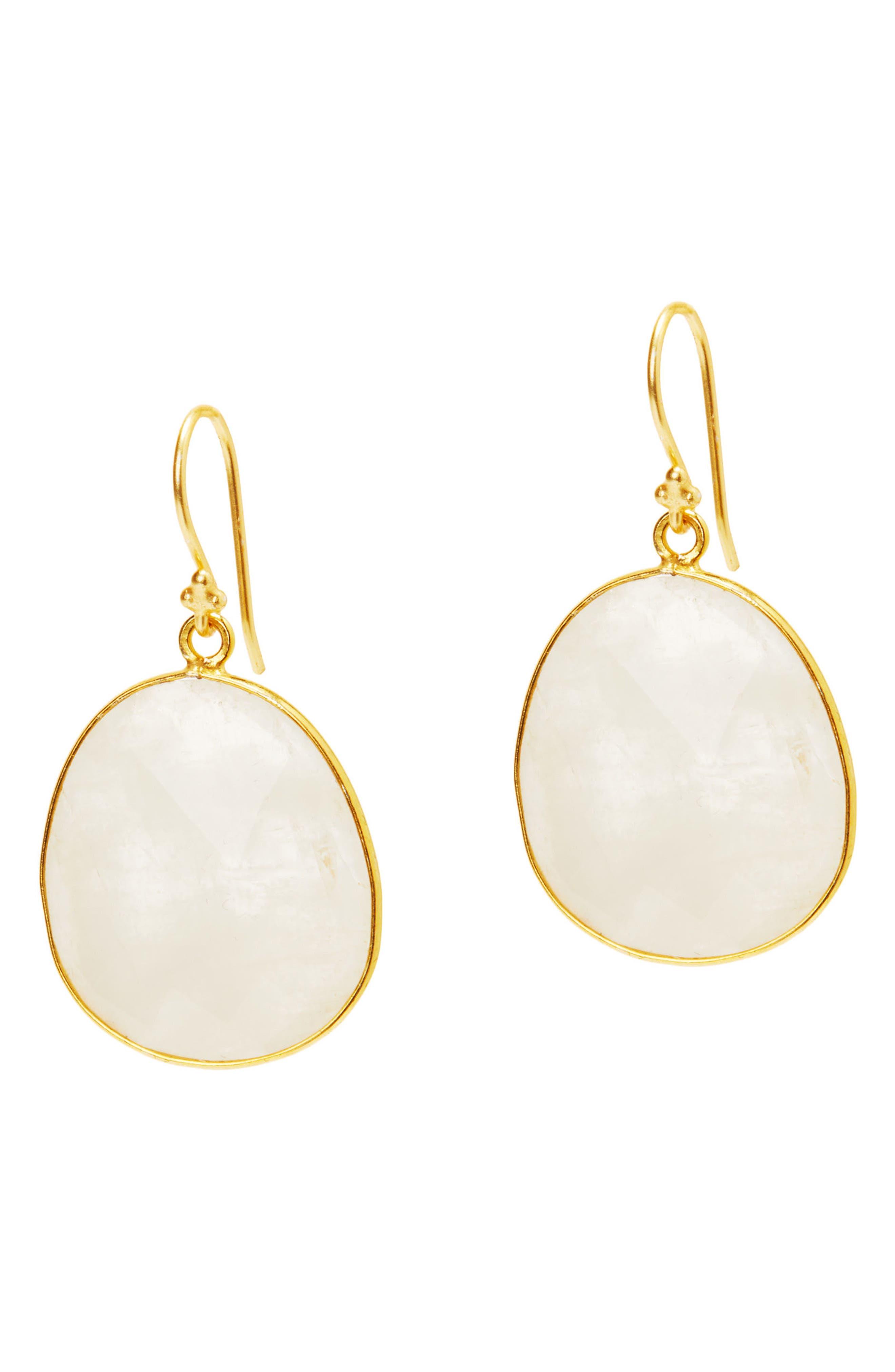 Mustique Semiprecious Stone Drop Earrings,                             Main thumbnail 1, color,                             MOONSTONE