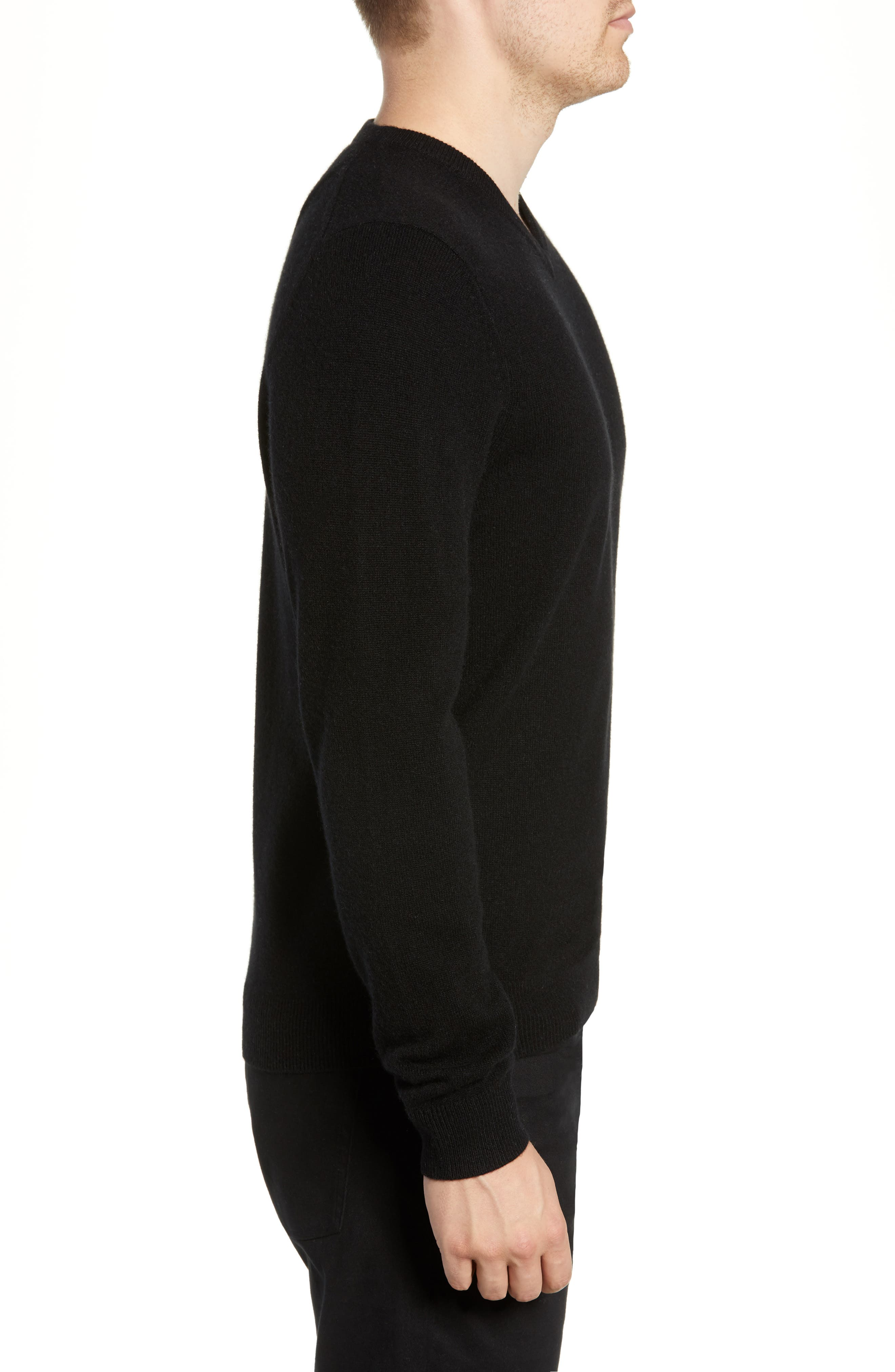 Cashmere V-Neck Sweater,                             Alternate thumbnail 3, color,                             BLACK CAVIAR