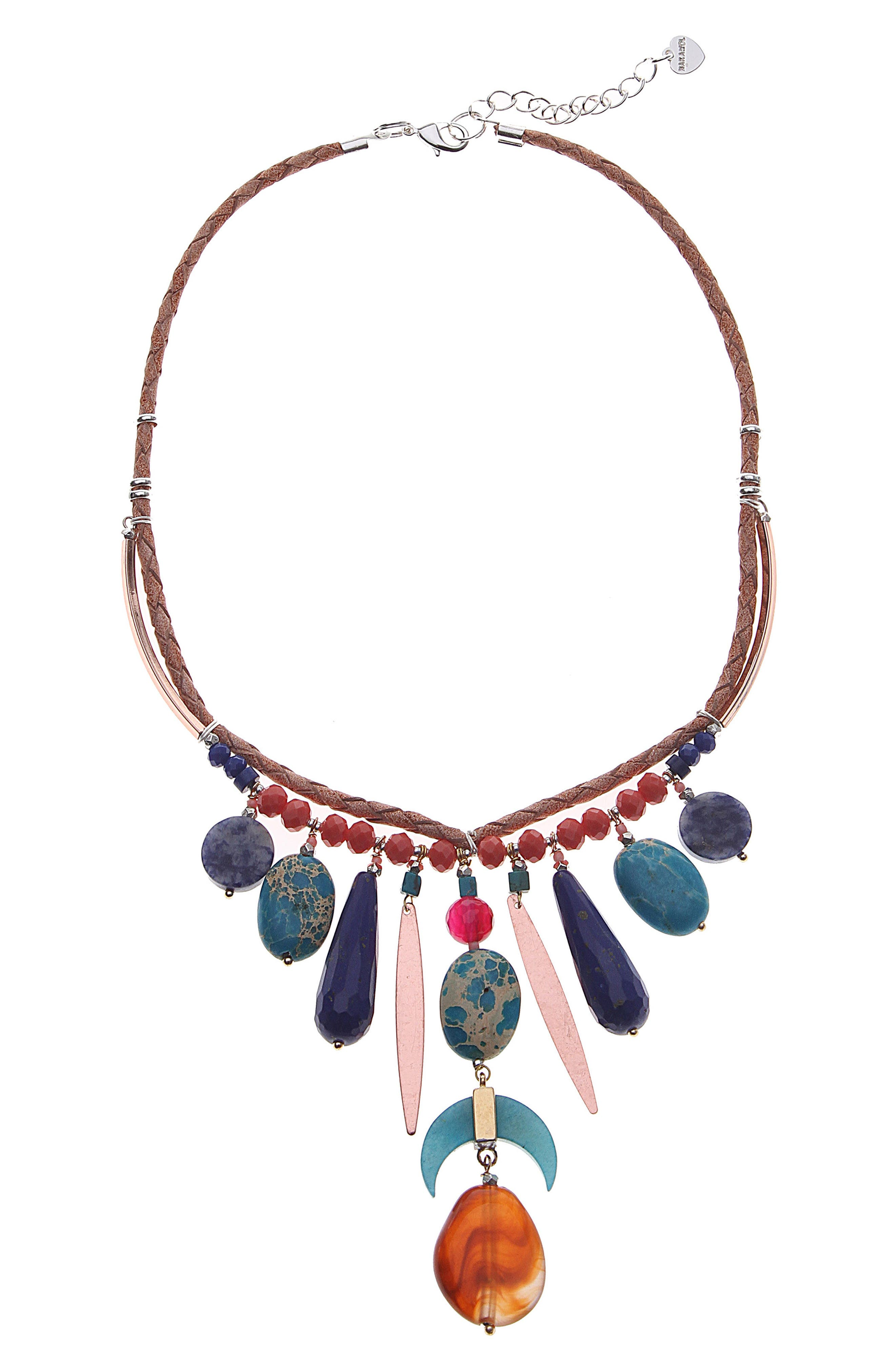 Stone Fringe Collar Necklace,                         Main,                         color,