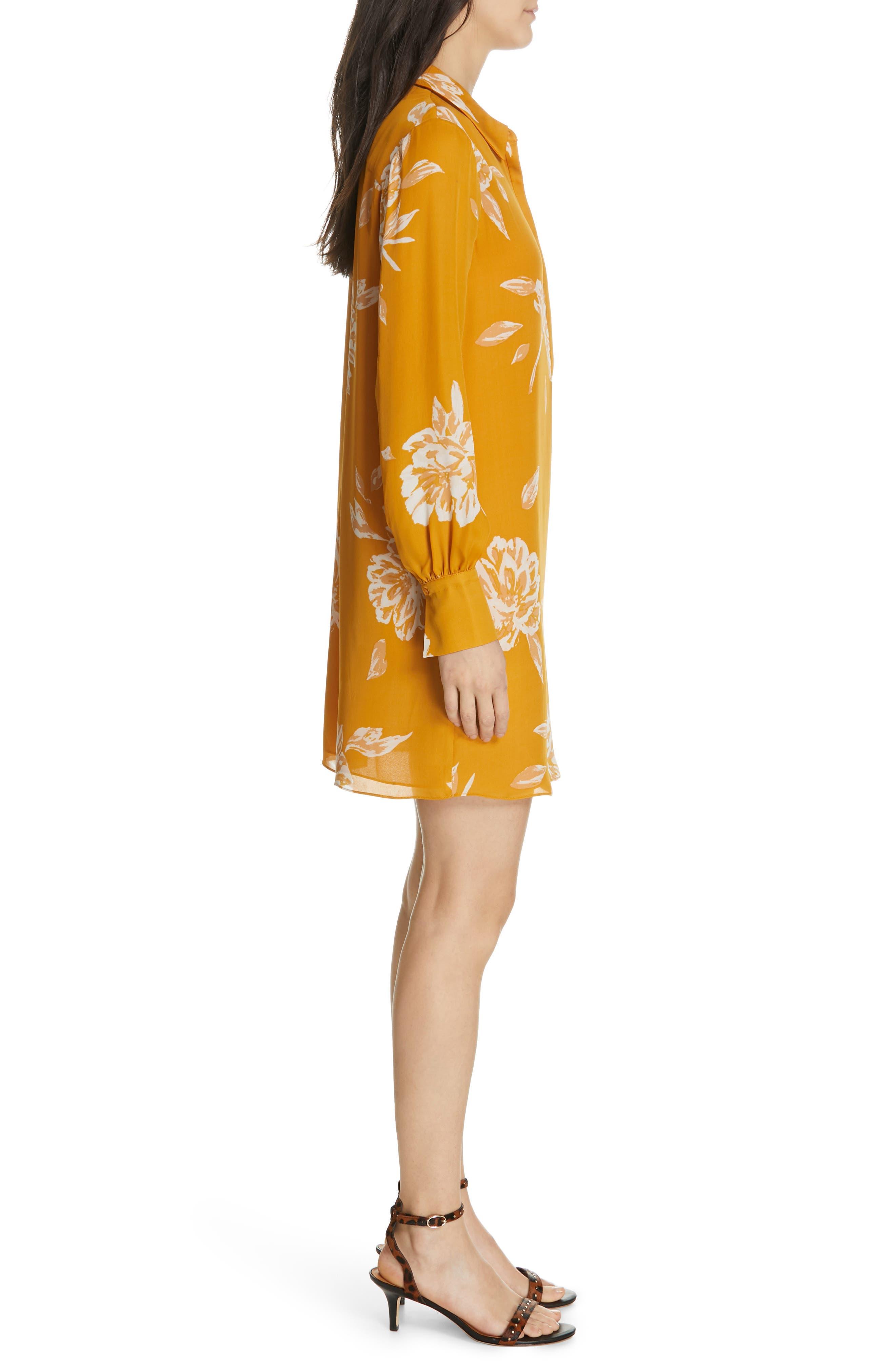 Amaranda Silk Shirtdress,                             Alternate thumbnail 3, color,                             DUSTY GOLD