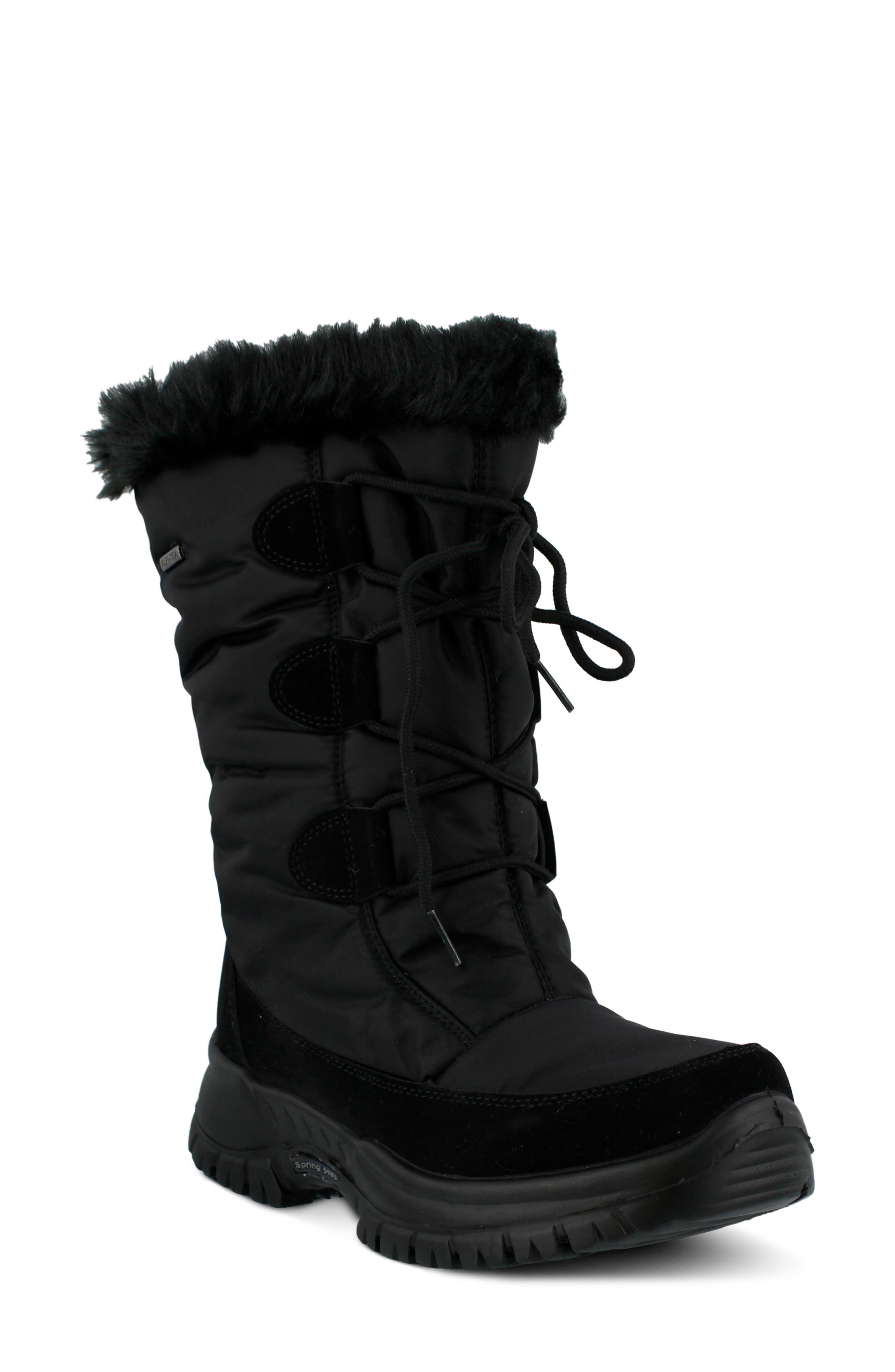 Spring Step Zurich Waterproof Faux Fur Boot - Black