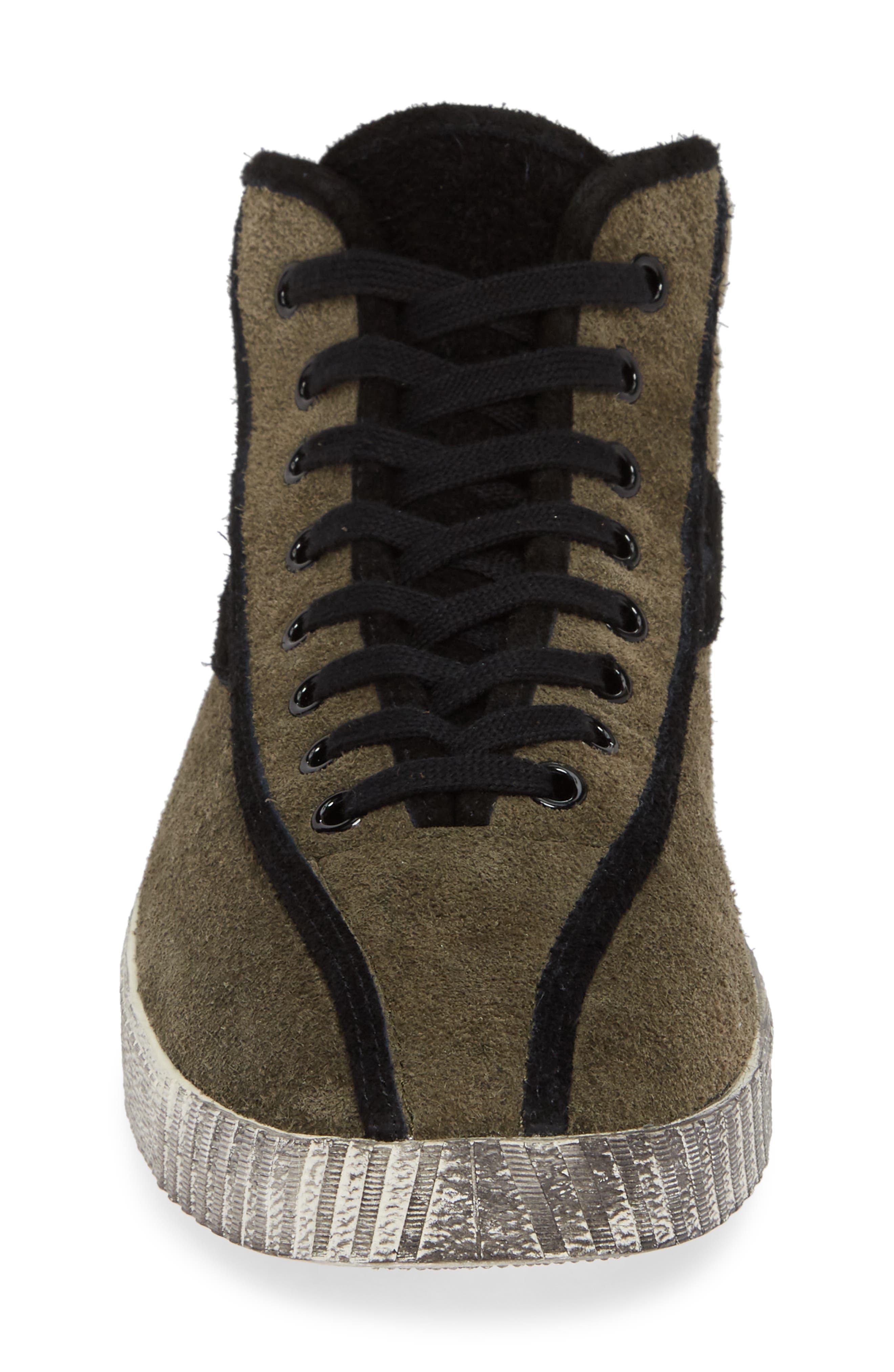 Nylite Hi 21 High Top Sneaker,                             Alternate thumbnail 4, color,                             OLIVE/ BLACK SUEDE