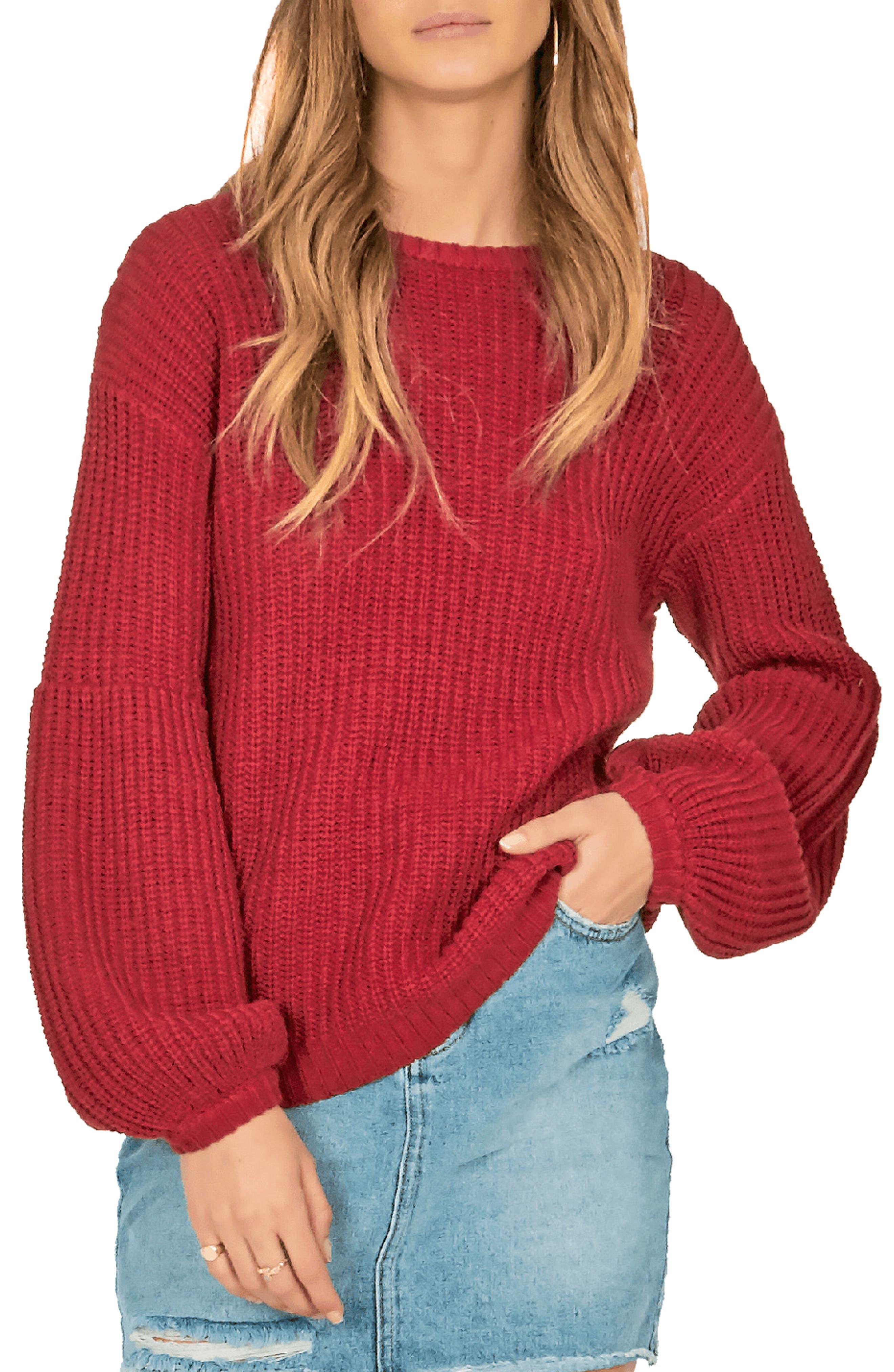 AMUSE SOCIETY Rodas Balloon Sleeve Sweater in Crimson