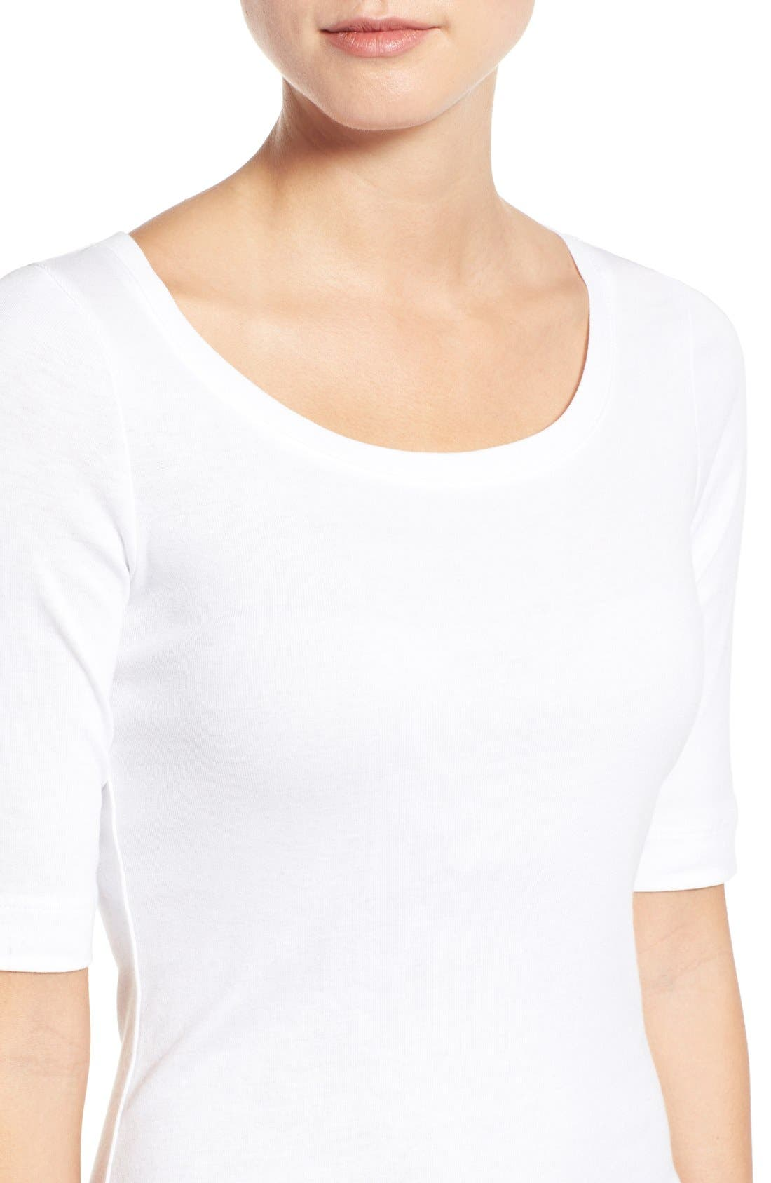 Ballet Neck Cotton & Modal Knit Elbow Sleeve Tee,                             Alternate thumbnail 319, color,