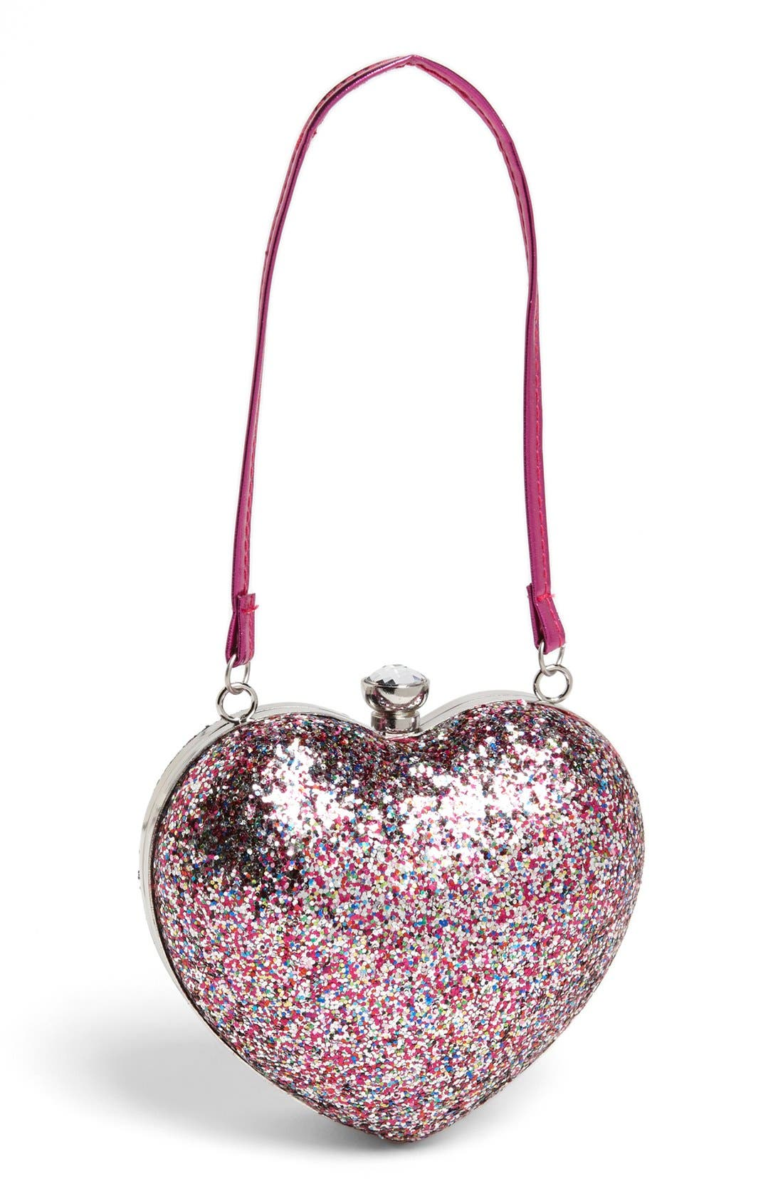 Capelli of New York Glitter Heart Shaped Handbag,                             Main thumbnail 1, color,                             975
