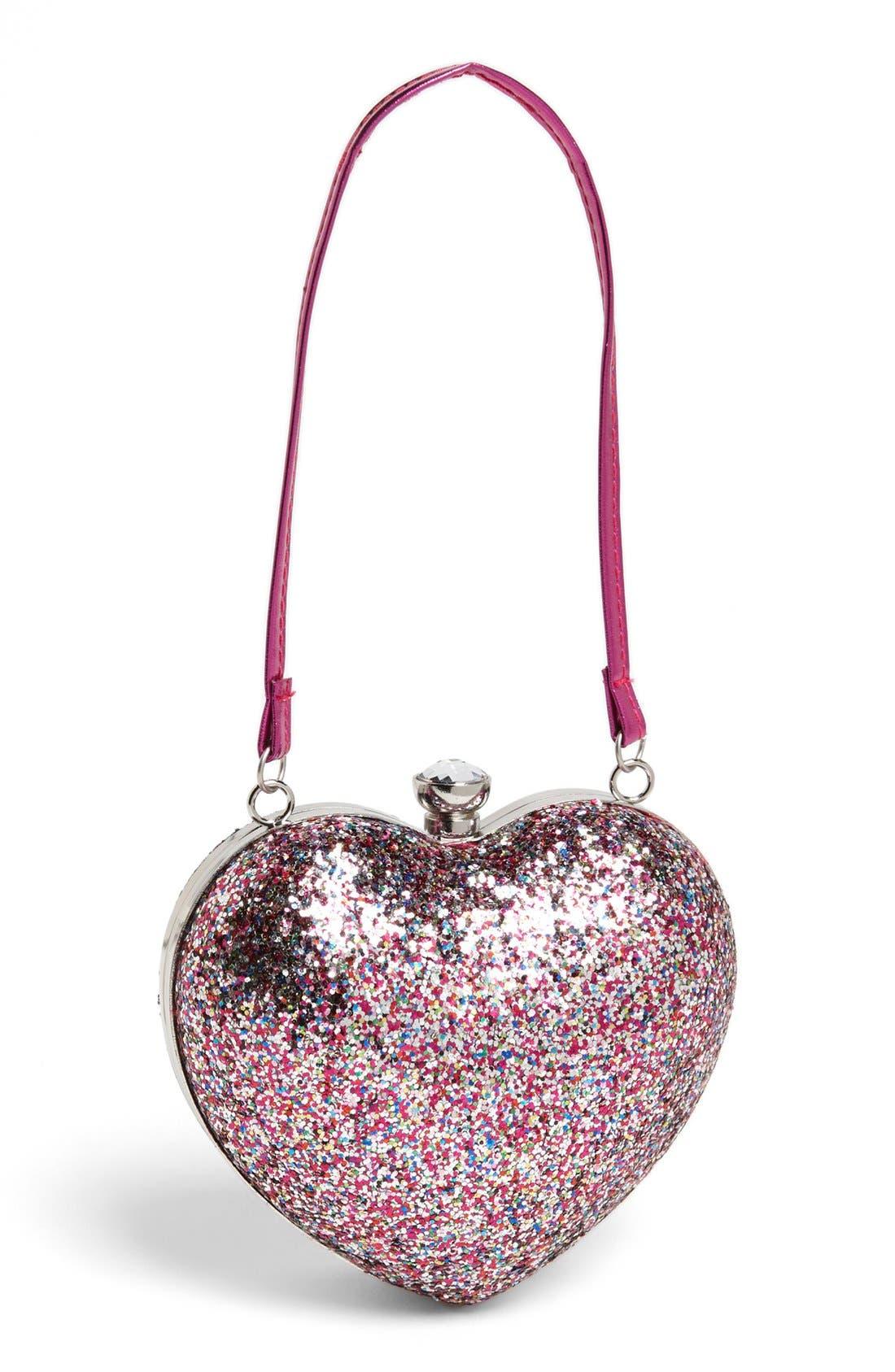 Capelli of New York Glitter Heart Shaped Handbag, Main, color, 975