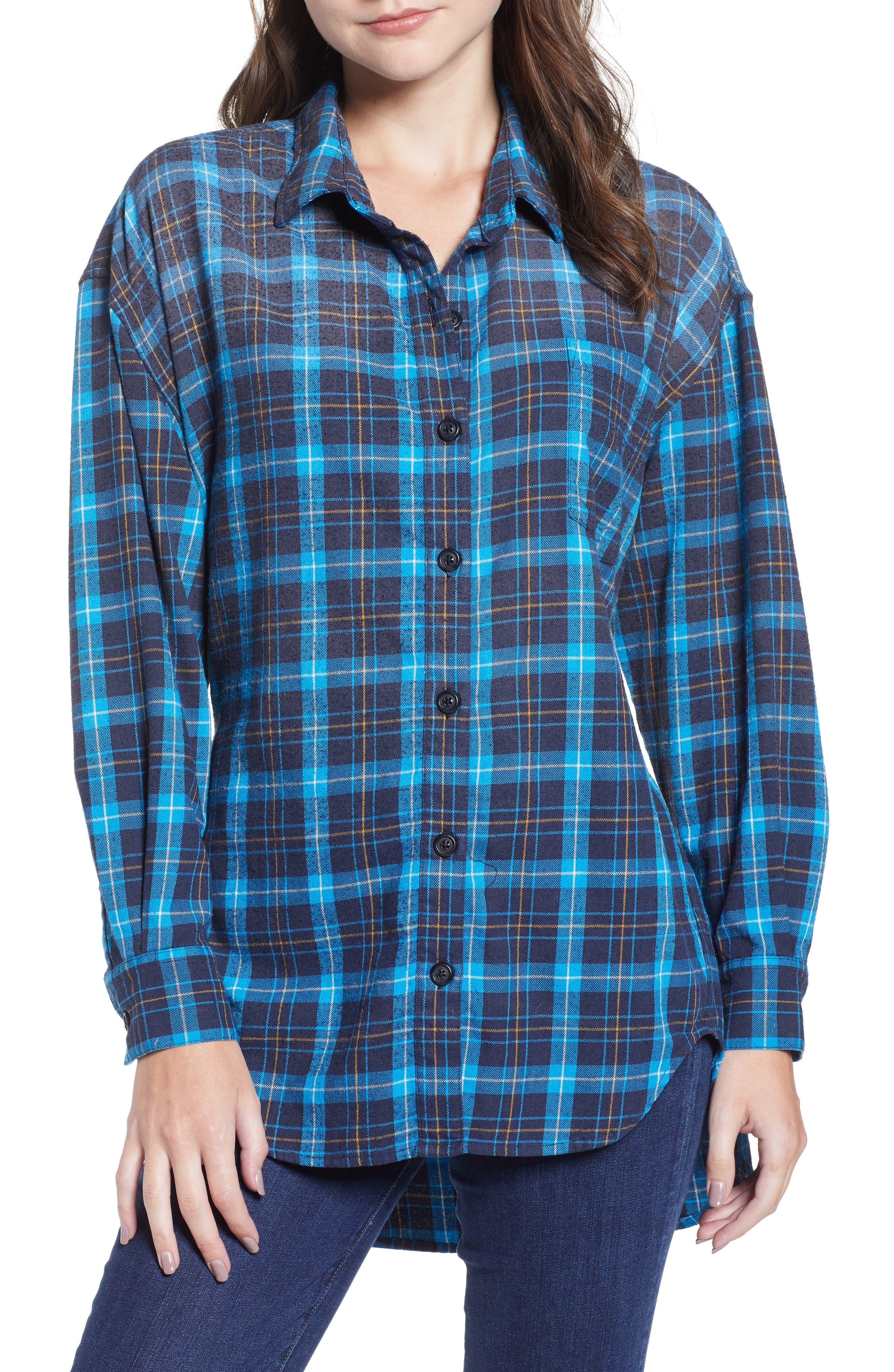 Back Tie Plaid Shirt,                         Main,                         color, 498