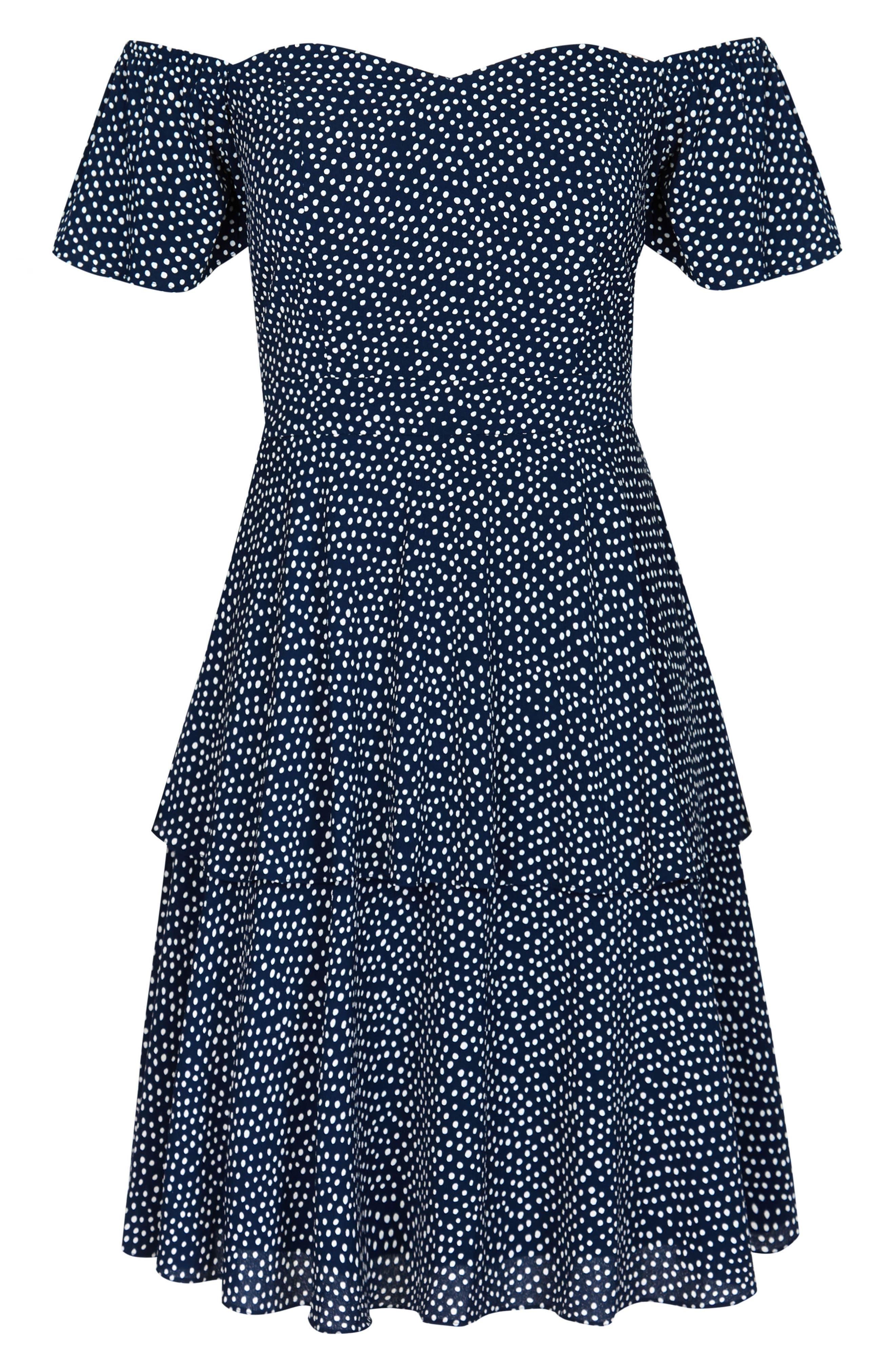 Spot Off the Shoulder Dress,                             Alternate thumbnail 3, color,                             NAVY SPOT