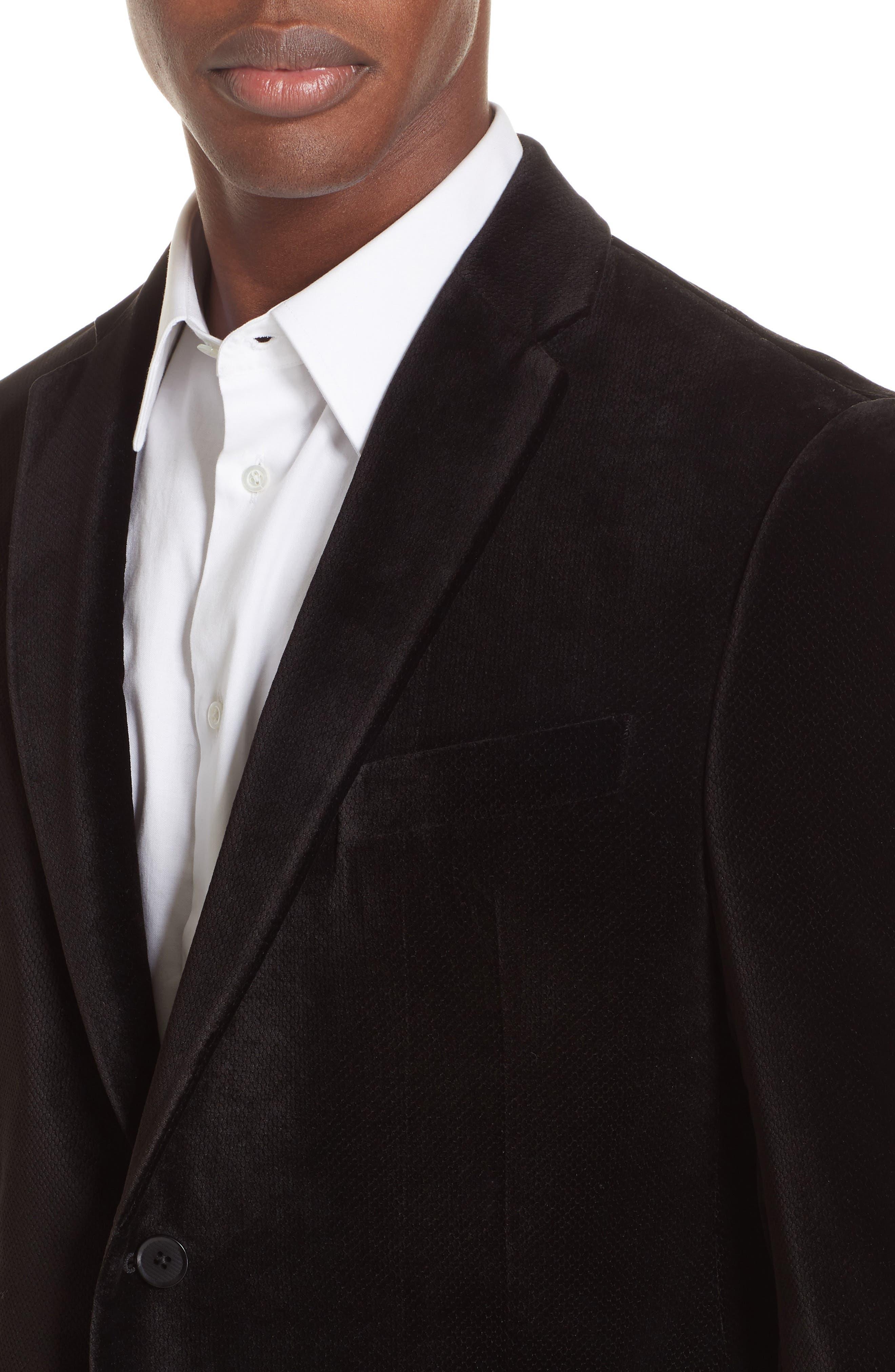 G-Line Trim Fit Velvet Blazer,                             Alternate thumbnail 4, color,                             BLACK