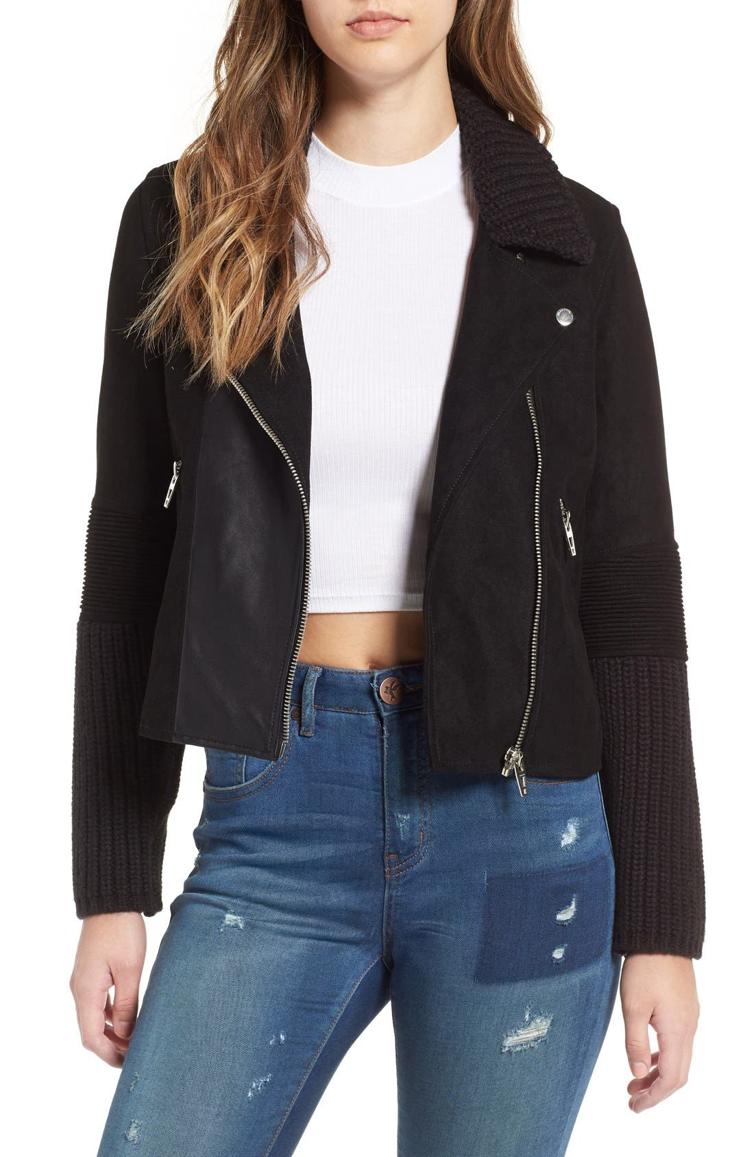 BLANKNYC Faux Suede & Knit Moto Jacket, Main, color, 001