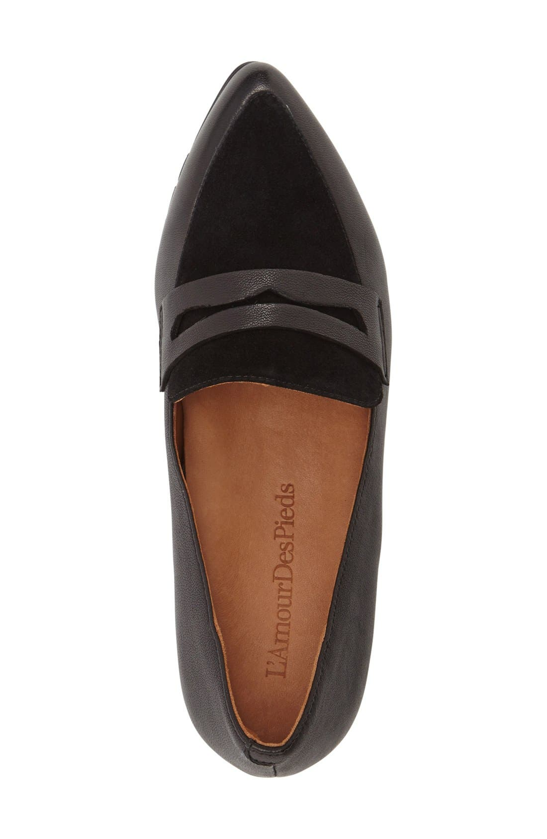 'Miamore' Pointy Toe Loafer,                             Alternate thumbnail 3, color,                             001