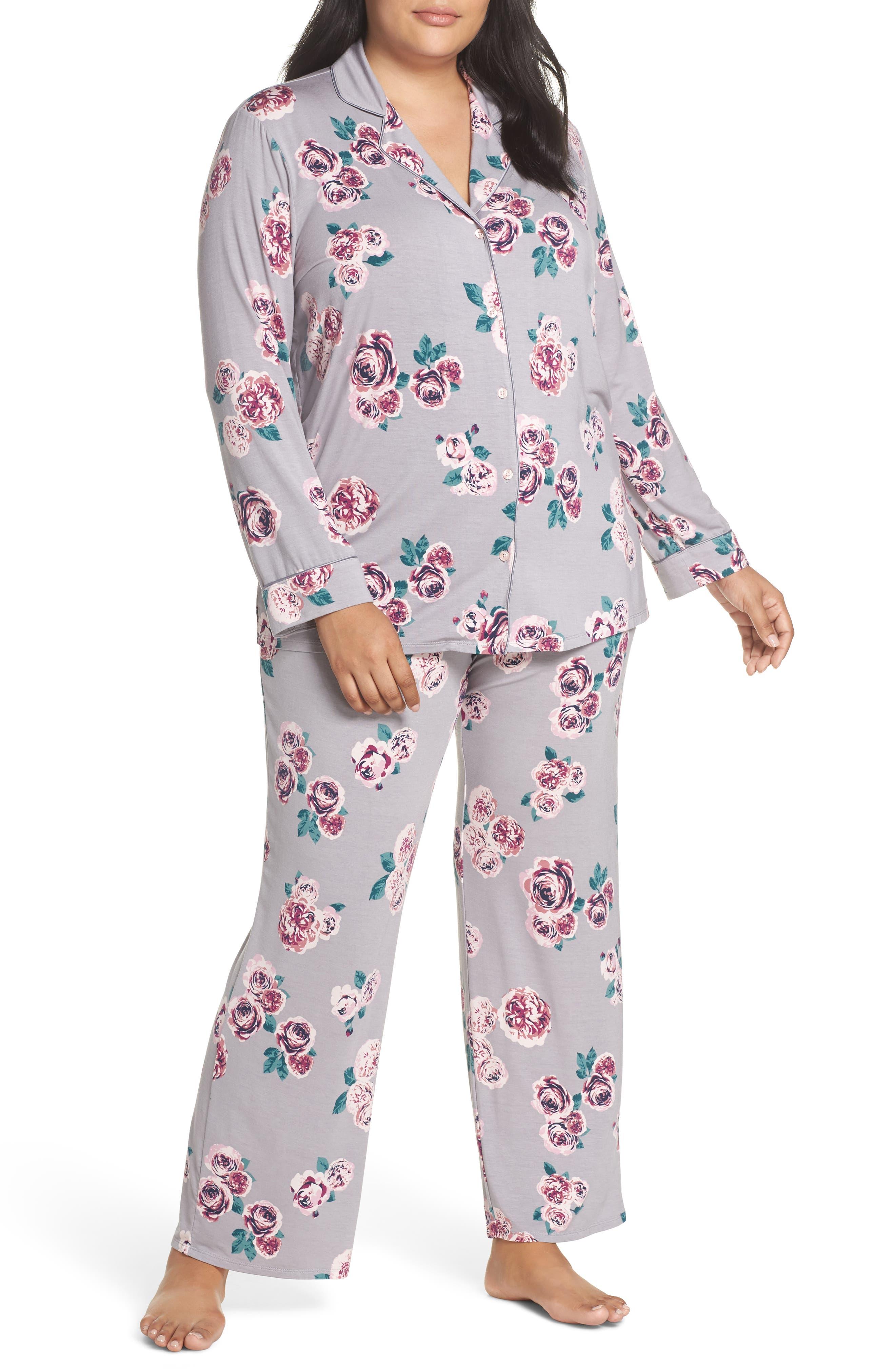'Moonlight' Pajamas,                         Main,                         color, GREY GULL HOLIDAY ROSE