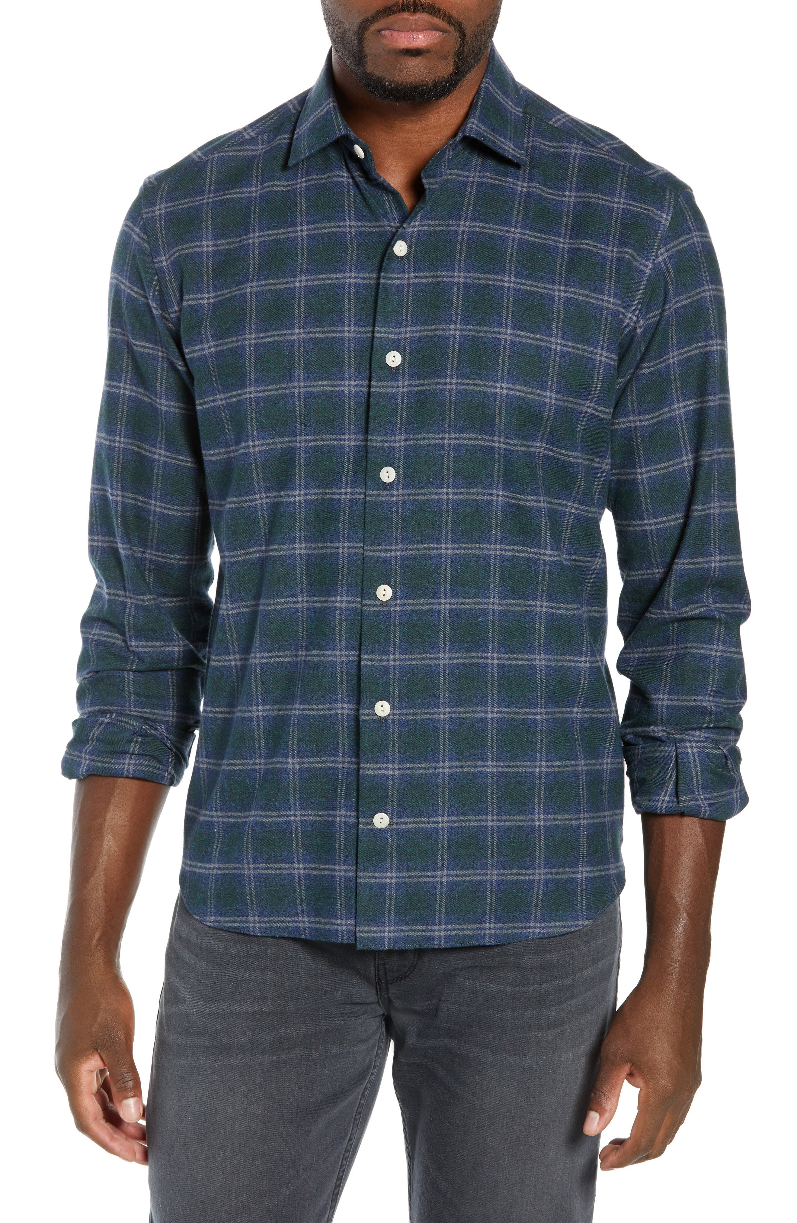 CULTURATA Supersoft Tailored Fit Plaid Sport Shirt in Navy