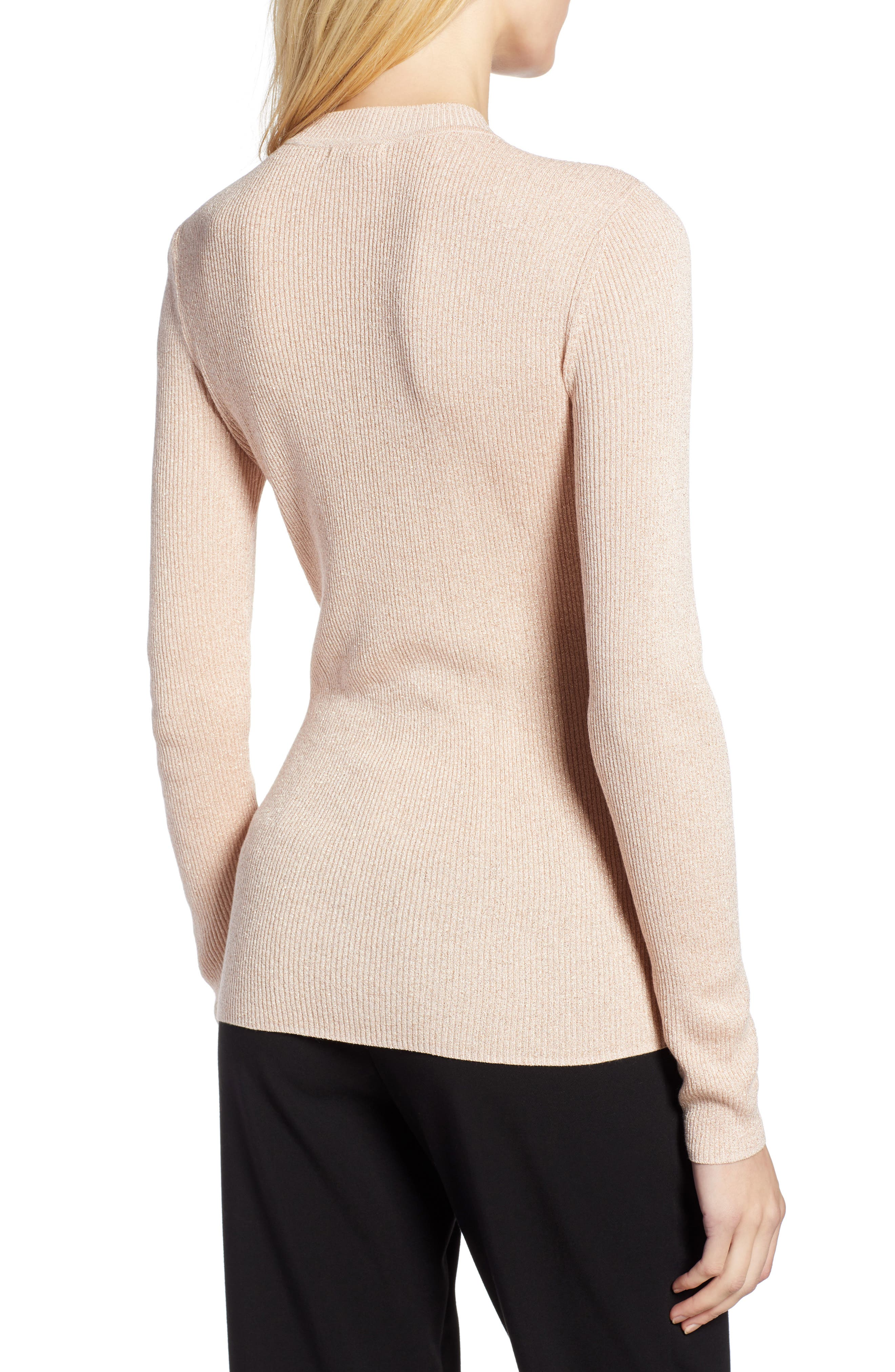 x Atlantic-Pacific Ribbed Shimmer Top,                             Alternate thumbnail 2, color,                             PINK GLOW