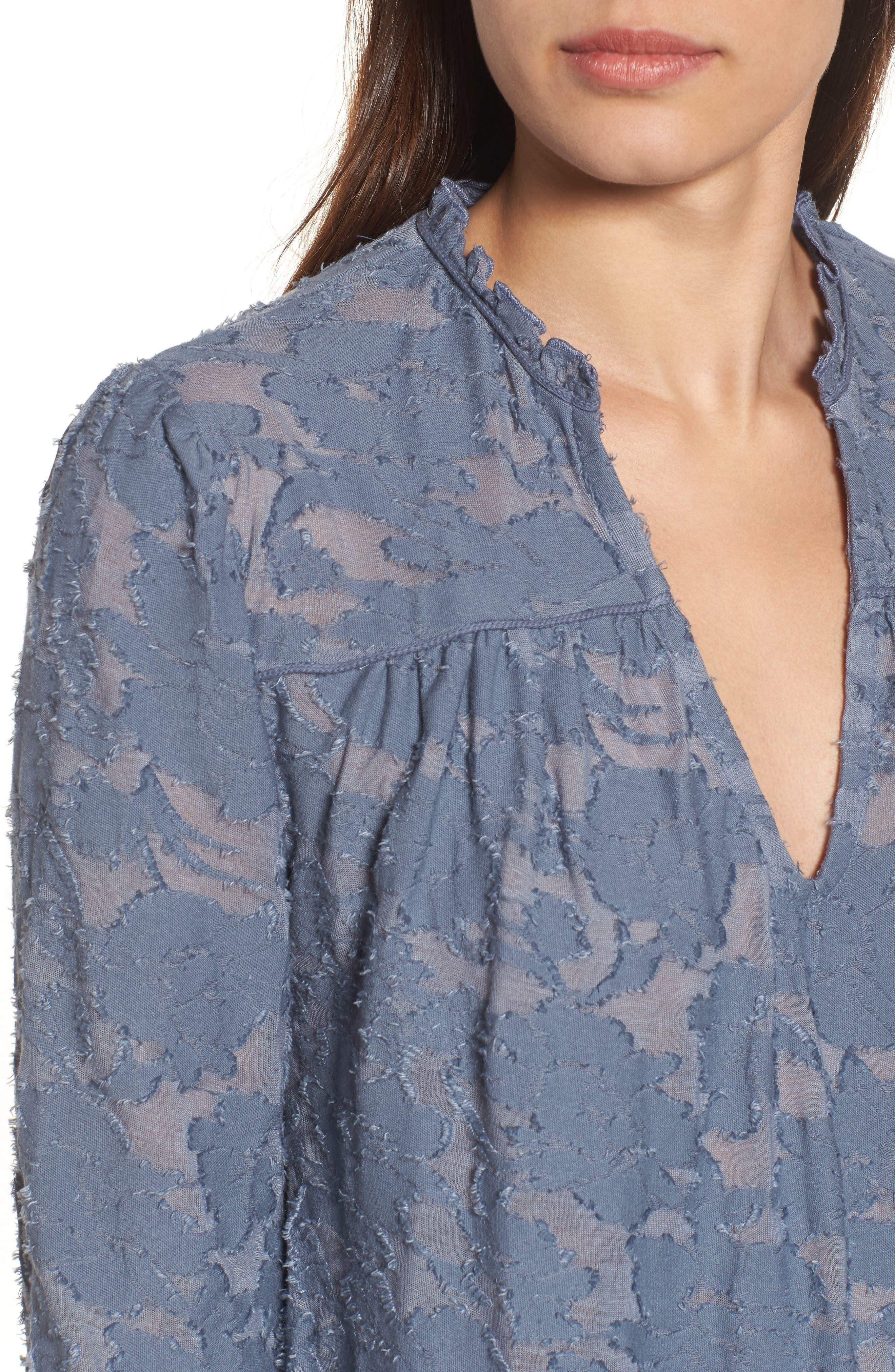 Floral Clipped Jacquard Top,                             Alternate thumbnail 4, color,                             420