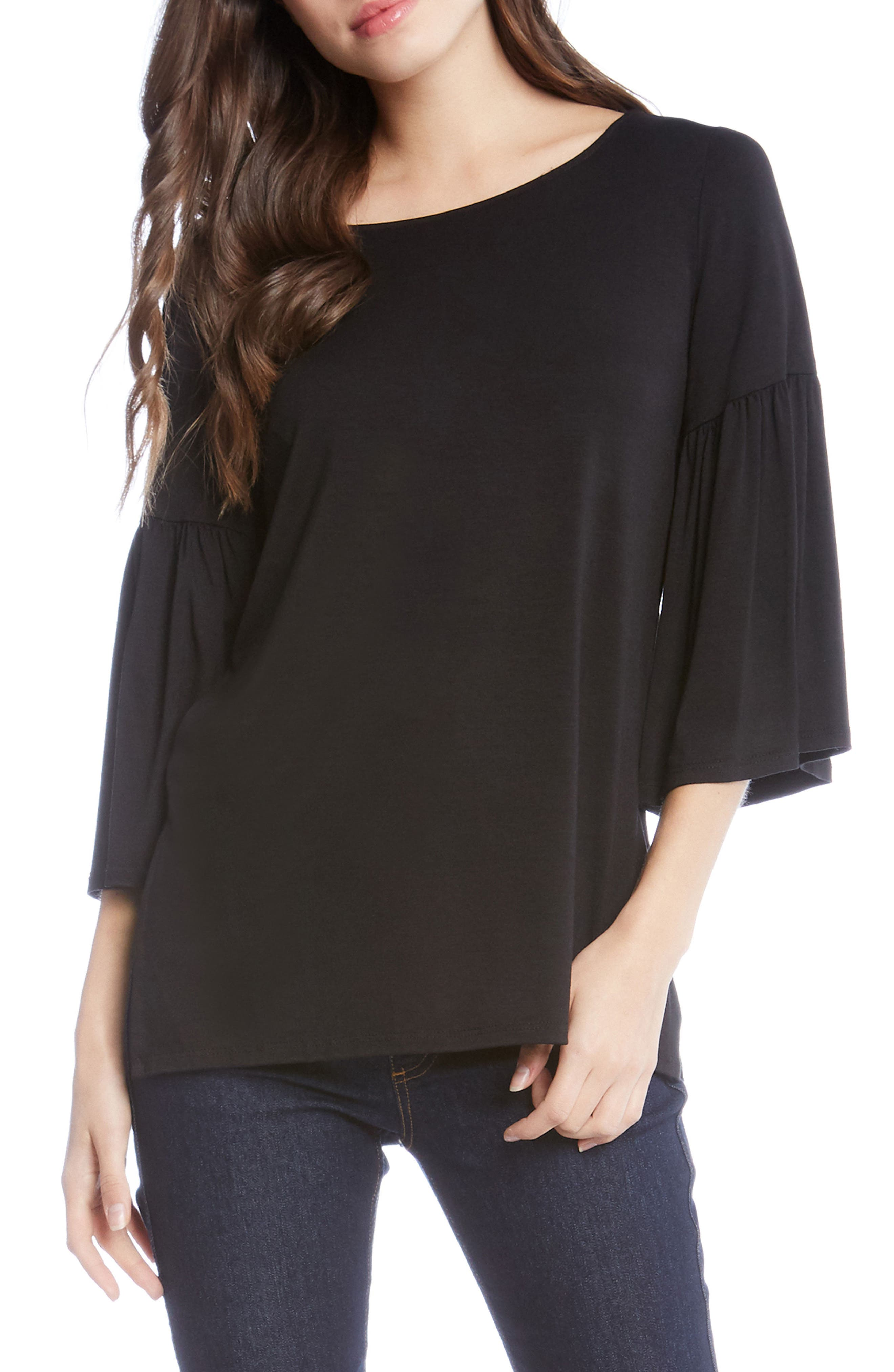Bell Sleeve Side Slit Top,                             Main thumbnail 1, color,                             001