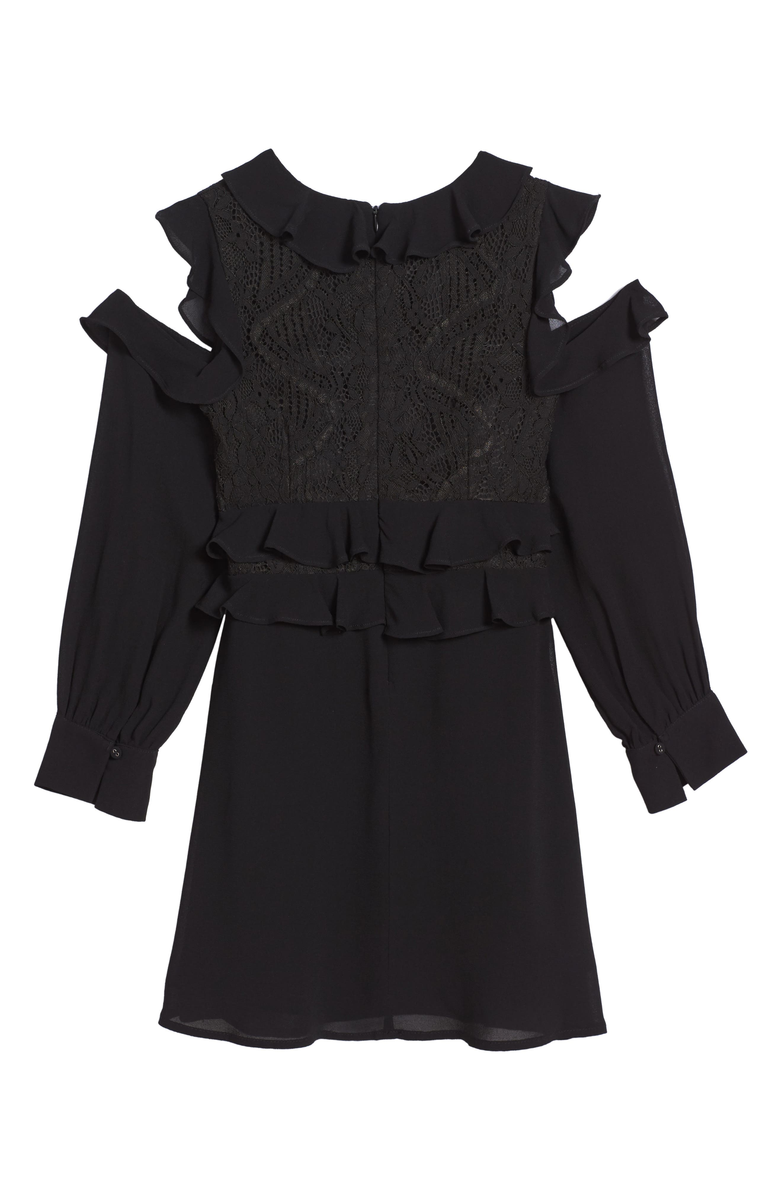 Ruffle Cold Shoulder Dress,                             Alternate thumbnail 2, color,