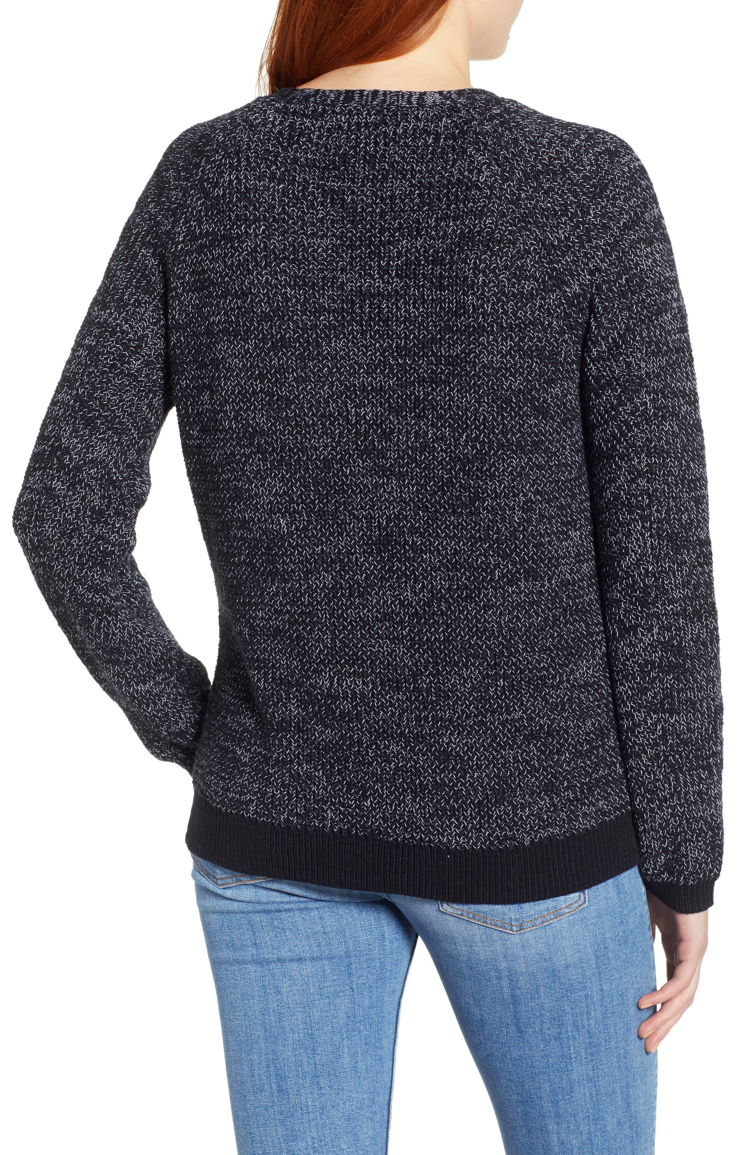 Raglan Sleeve Sweater,                             Alternate thumbnail 2, color,                             BLACK CREW MARL