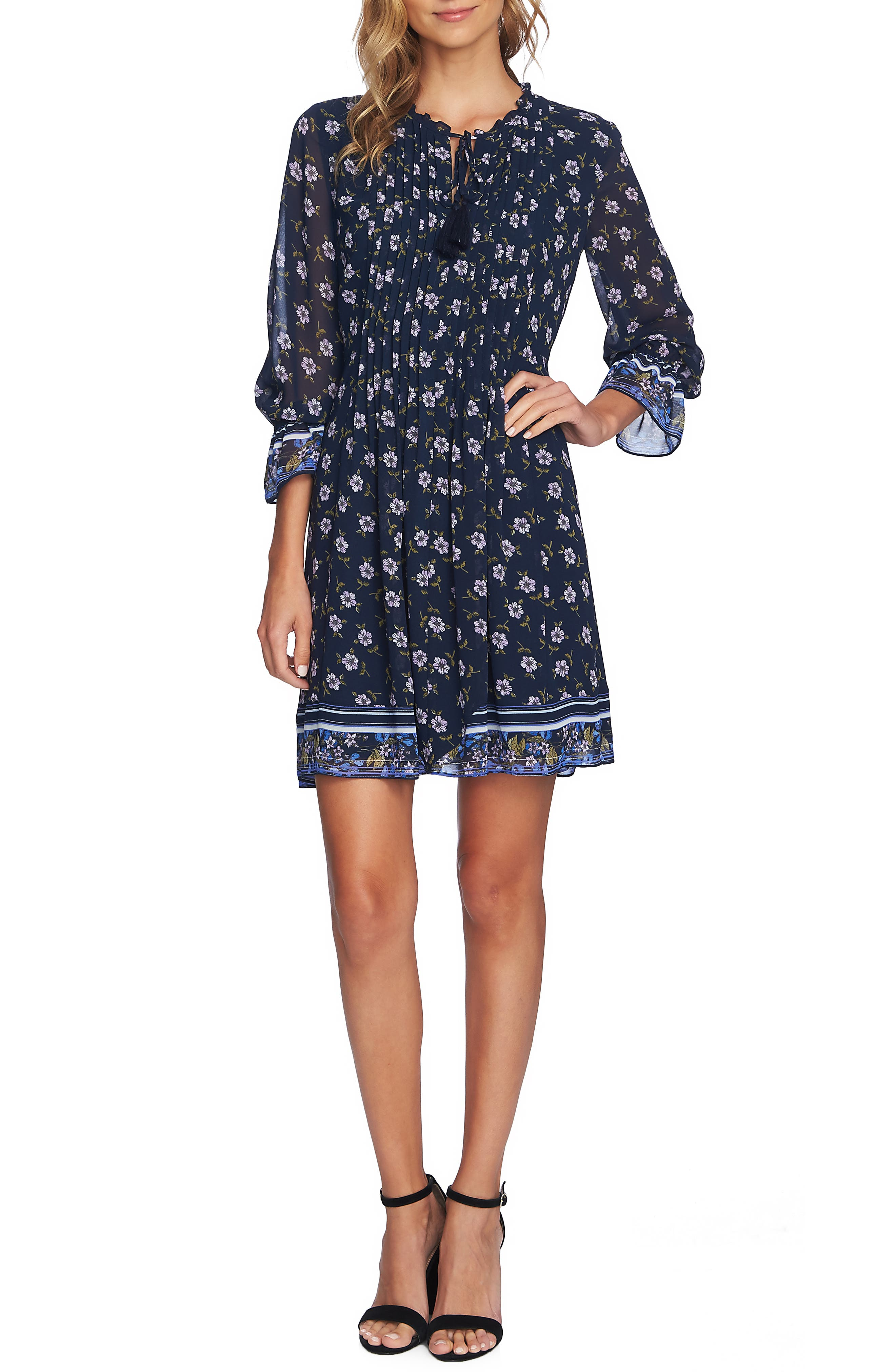 Cece Pintuck Ditsy Trellis Dress, Blue