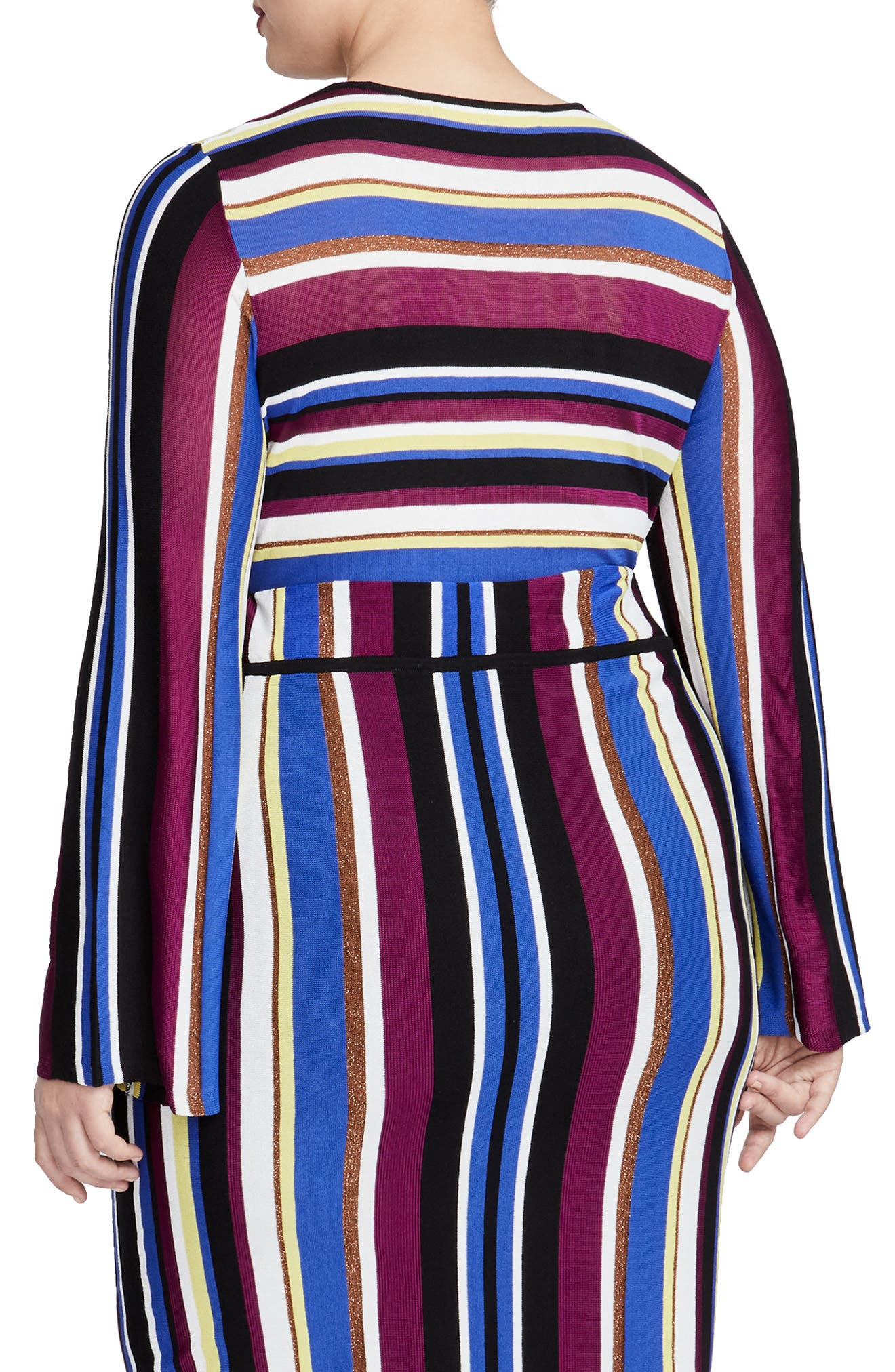 Royal Metallic Stripe Crop Sweater,                             Alternate thumbnail 2, color,                             VICTORIAN VIOLET STRIPE