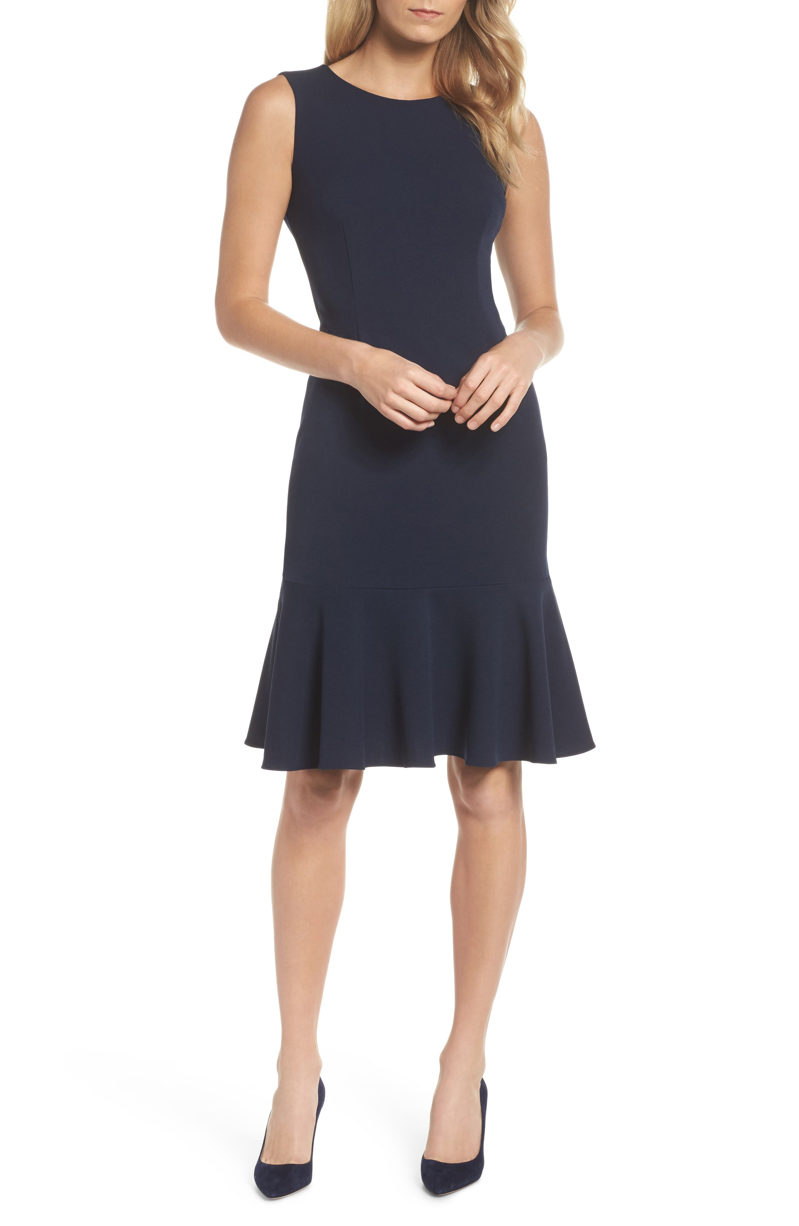Knit Crepe Sheath Dress,                         Main,                         color,