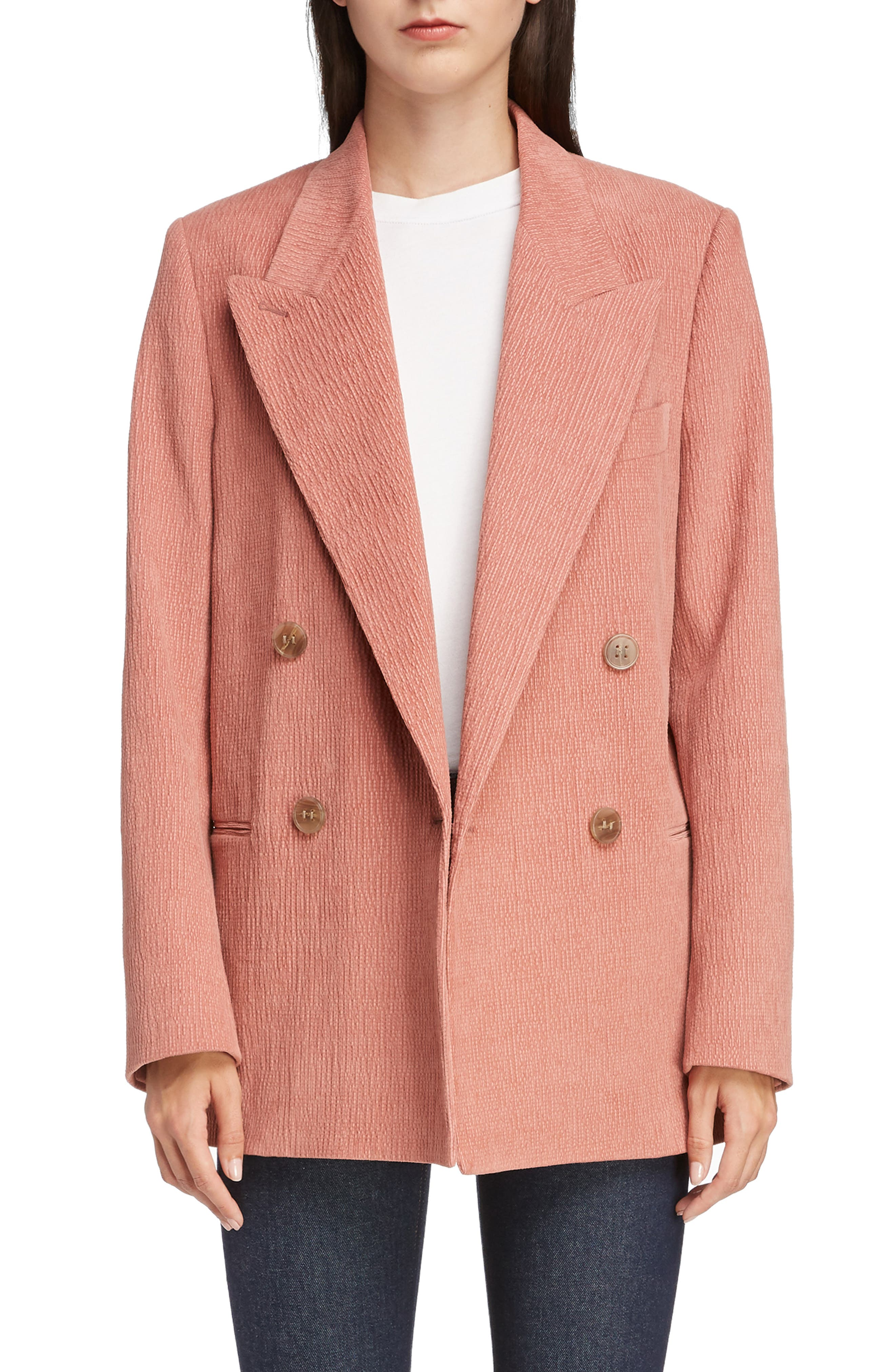 ACNE STUDIOS,                             Corduroy Double Breasted Blazer,                             Main thumbnail 1, color,                             OLD PINK