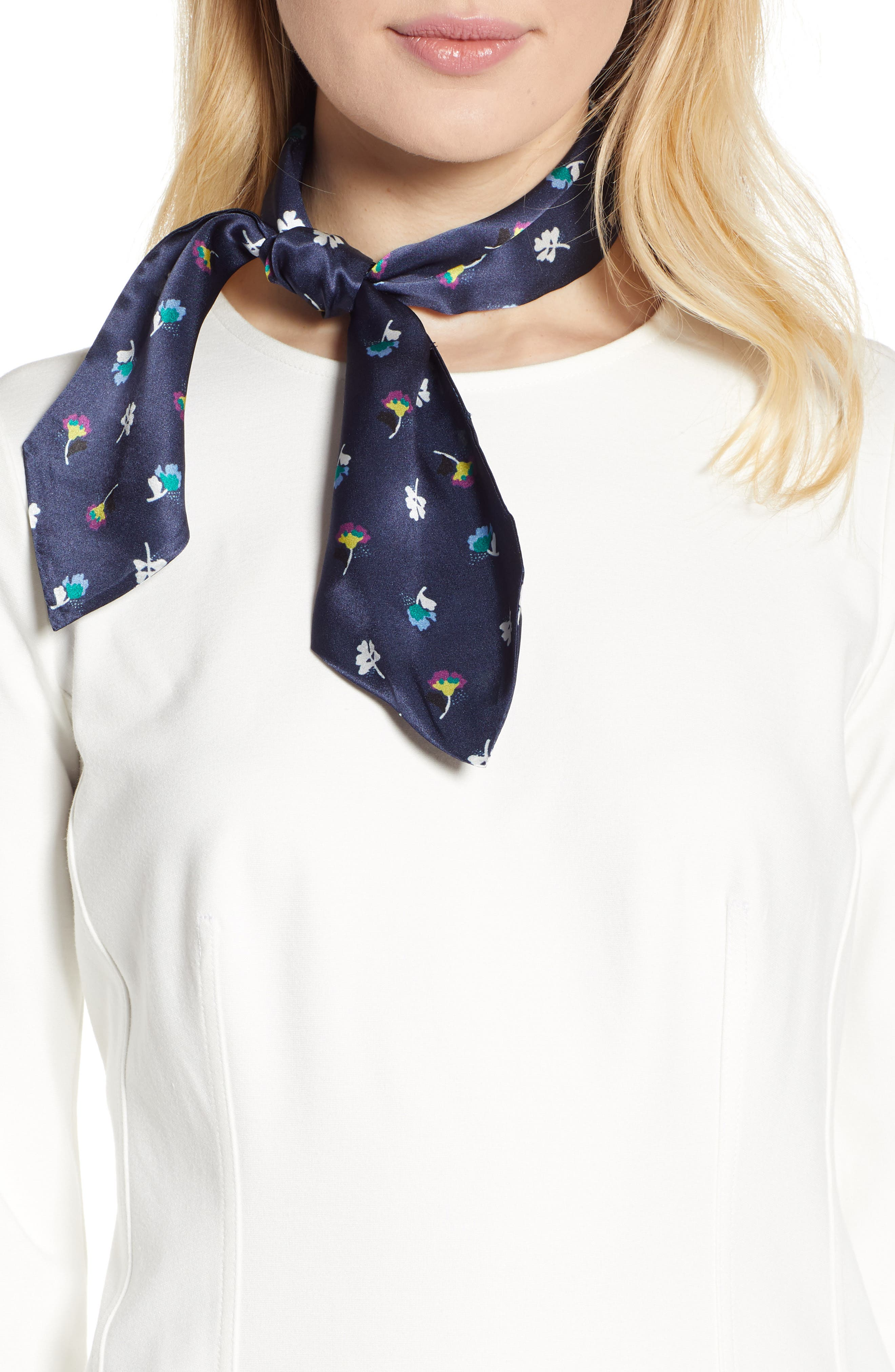 Floral Silk Tie Scarf,                             Main thumbnail 1, color,                             NAVY CHARM FLORAL