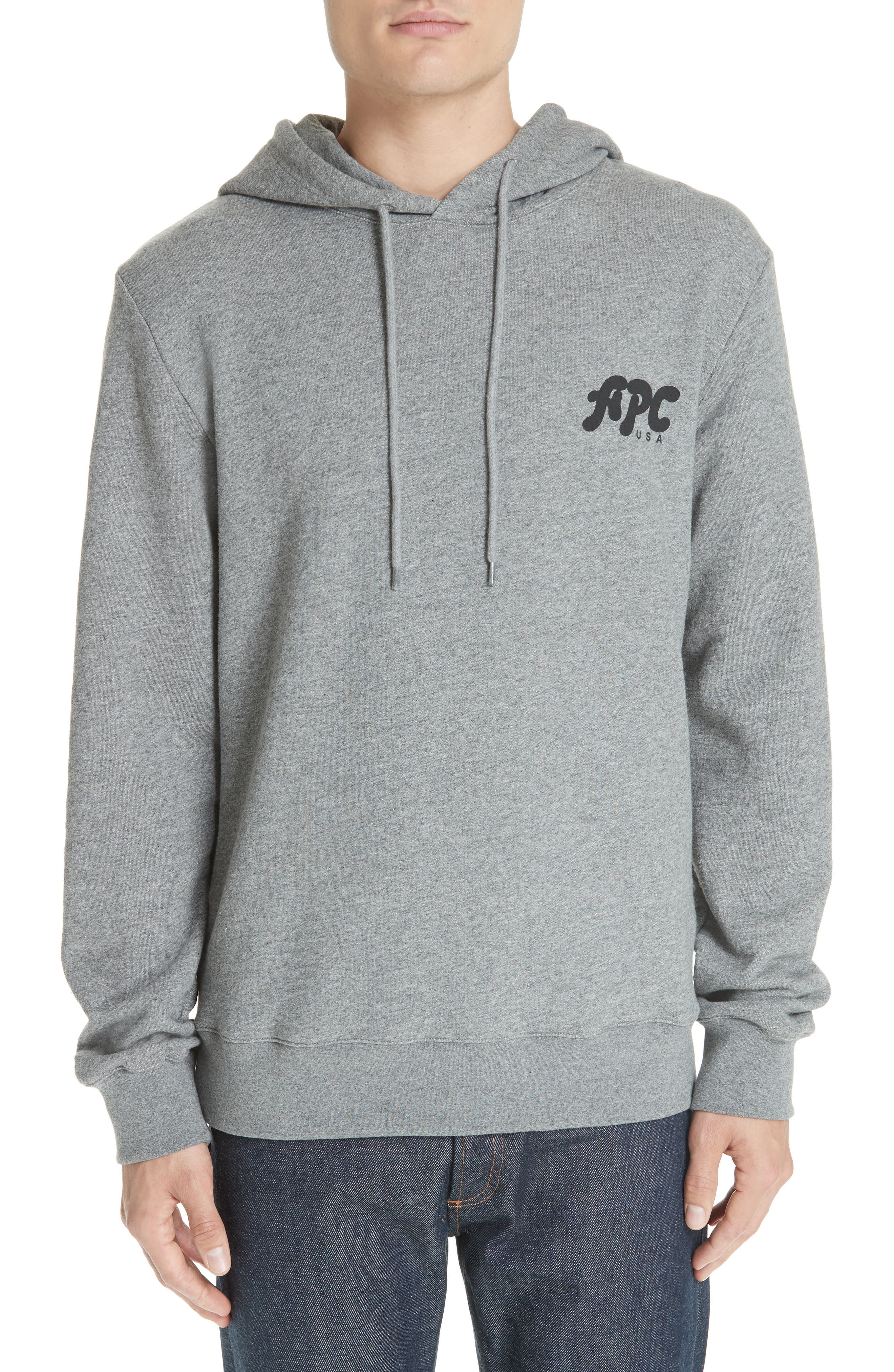 New Logo Graphic Hoodie,                             Main thumbnail 1, color,                             PLA GRIS