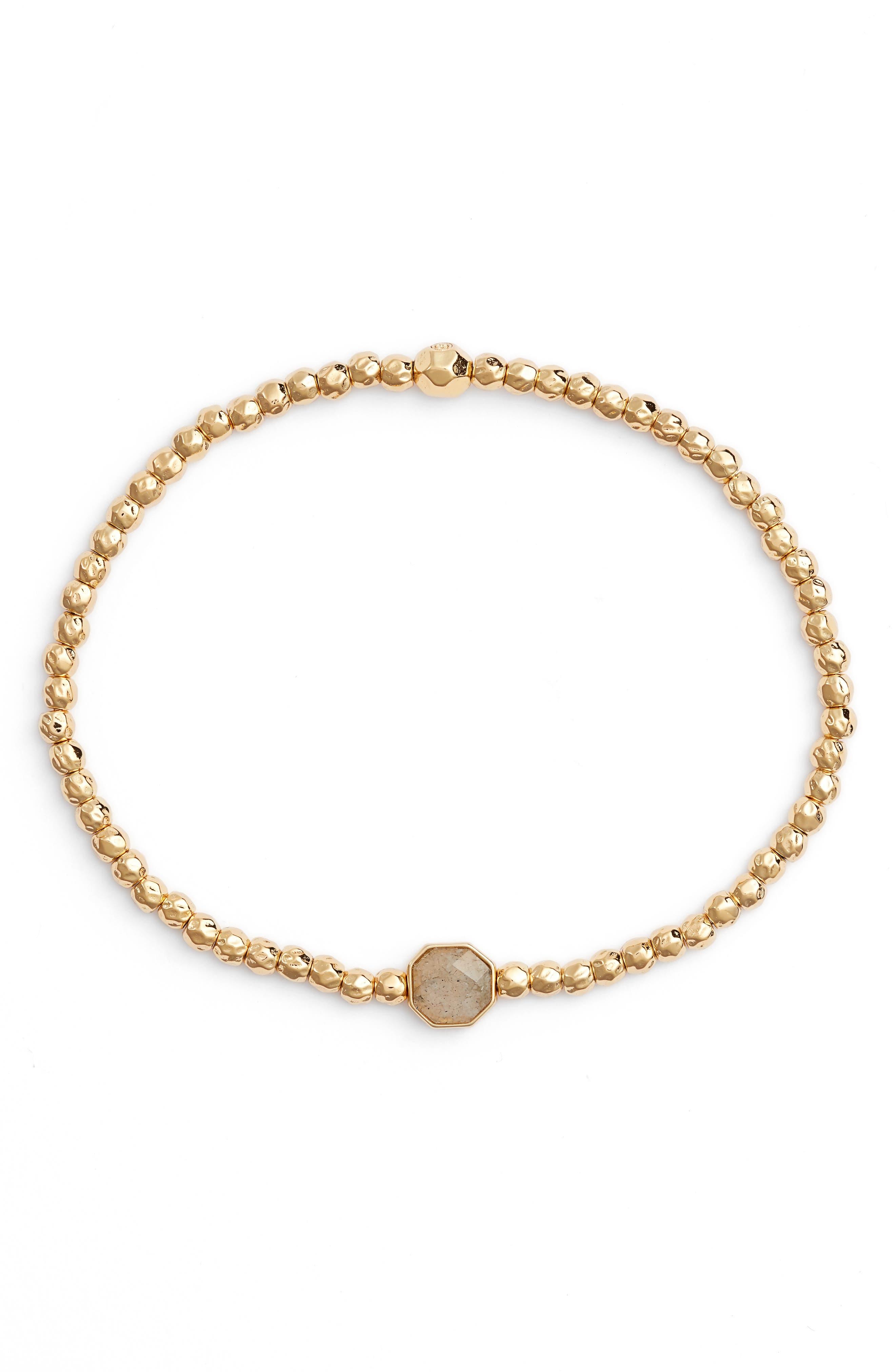 Power Gemstone Beaded Bracelet in Labradorite/ Gold