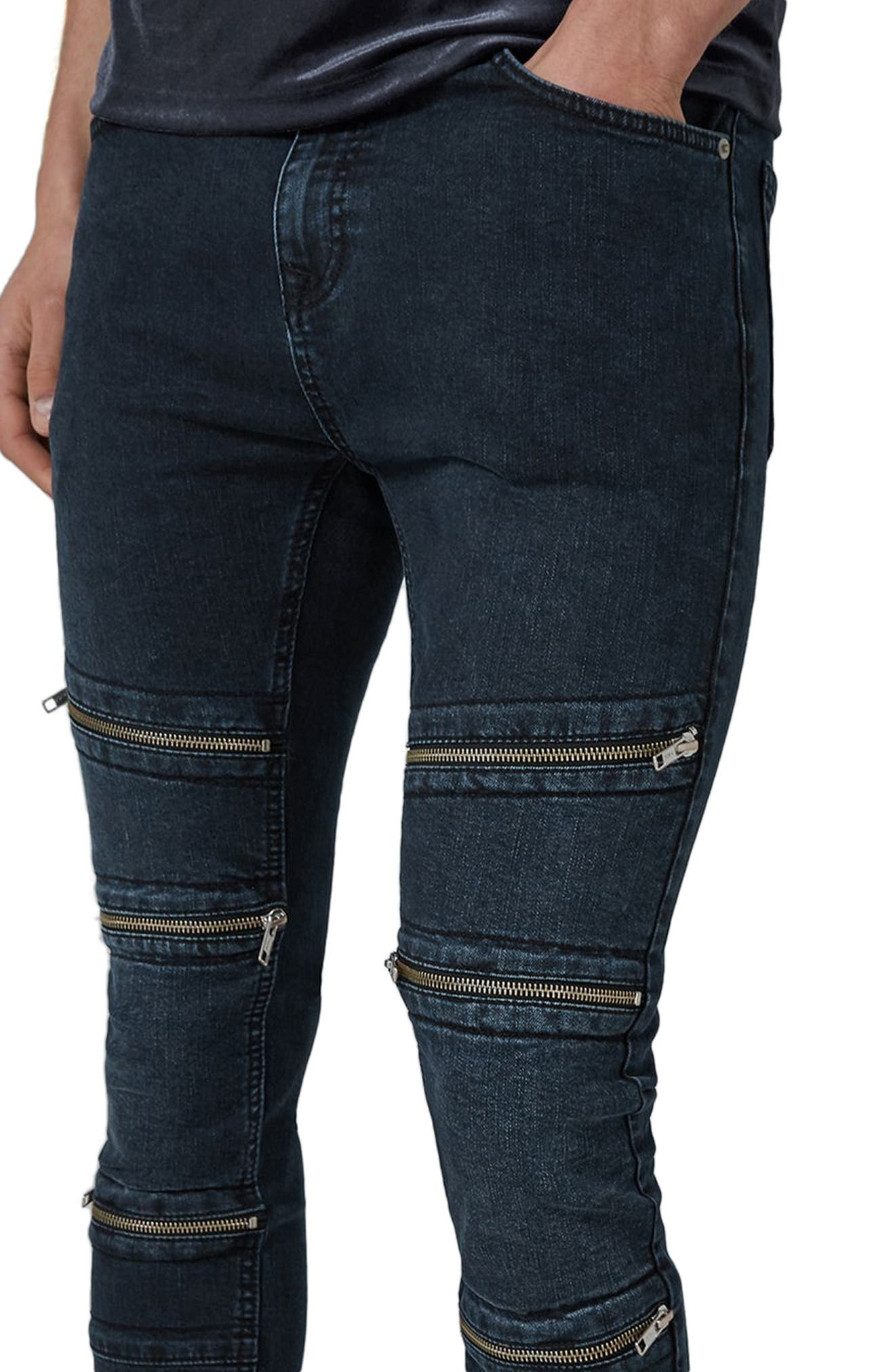 Multi Zip Spray-On Jeans,                             Alternate thumbnail 3, color,                             400