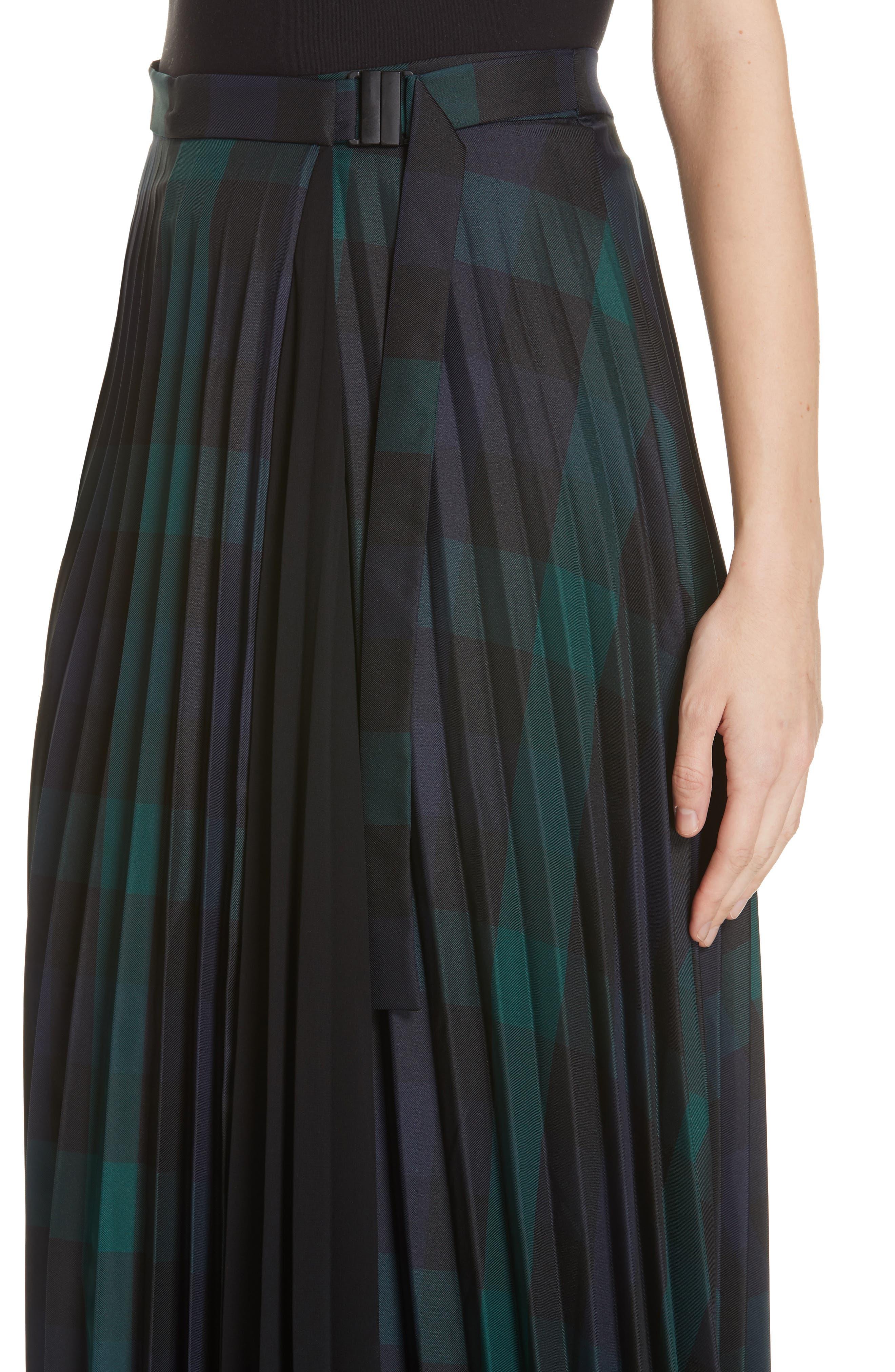 Plaid Pleated Midi Skirt,                             Alternate thumbnail 4, color,                             DEEP NAVY