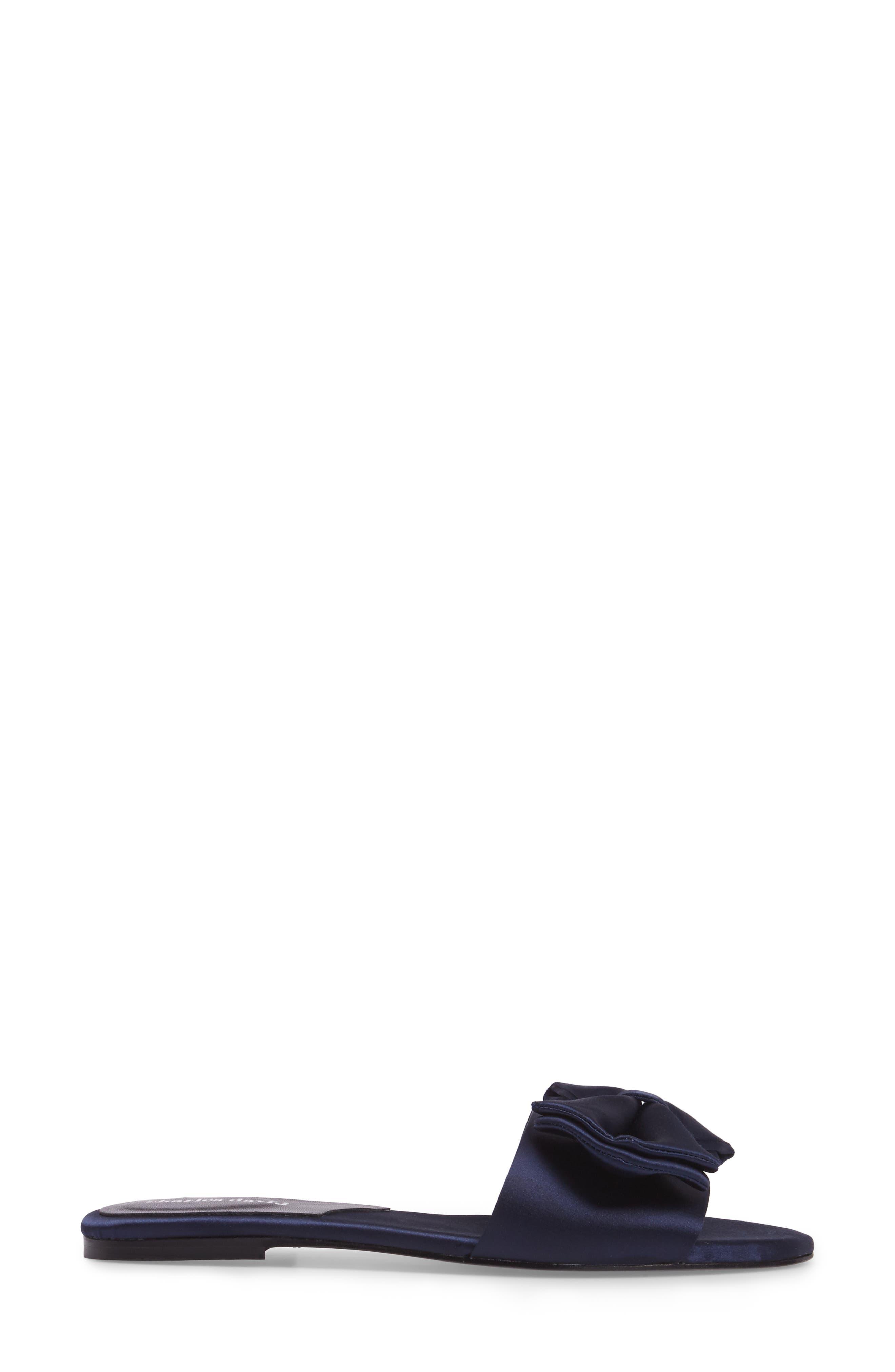 Bow Slide Sandal,                             Alternate thumbnail 3, color,                             NAVY SATIN