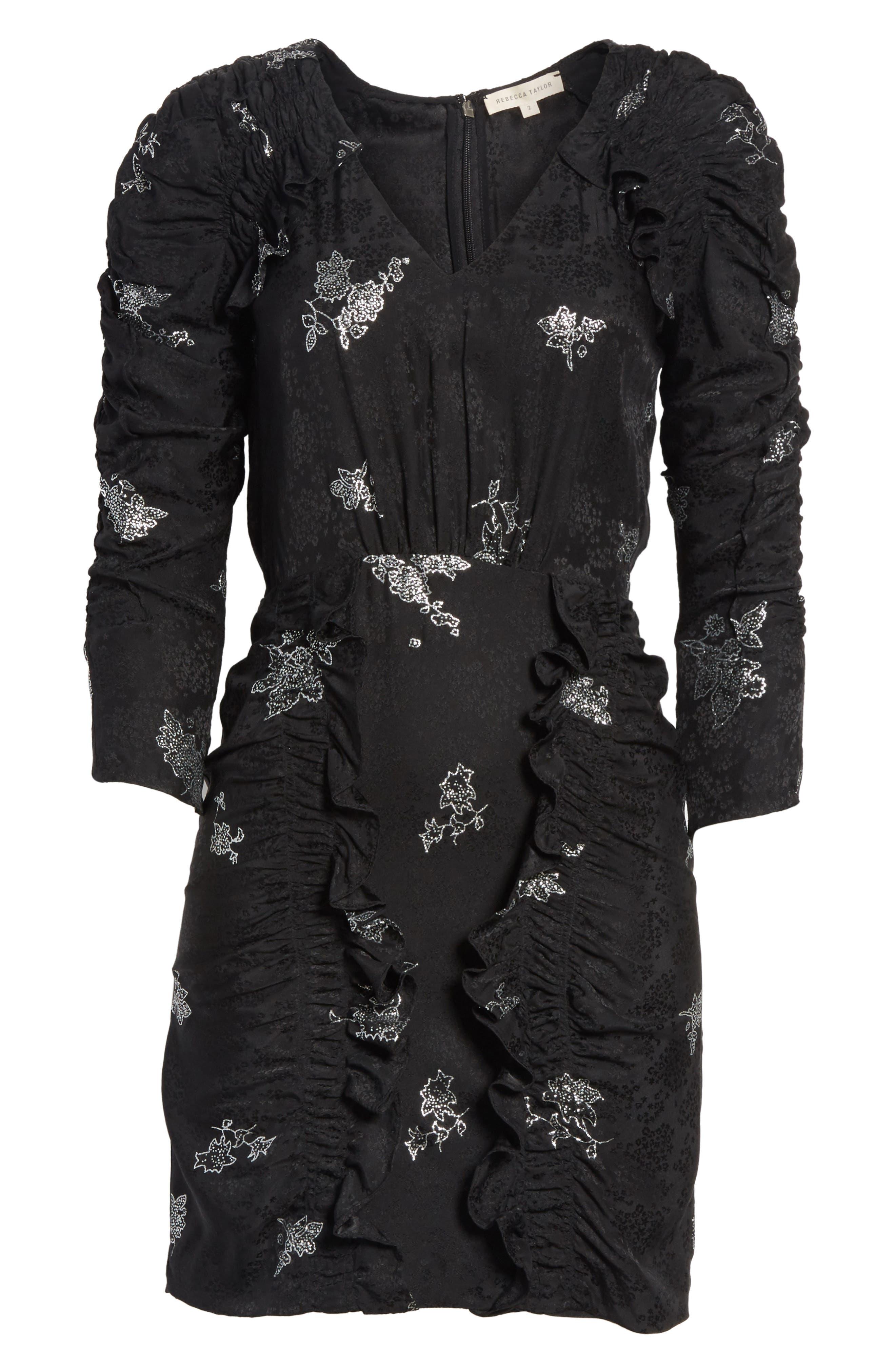 Glitter Jacquard Silk Dress,                             Alternate thumbnail 6, color,                             010