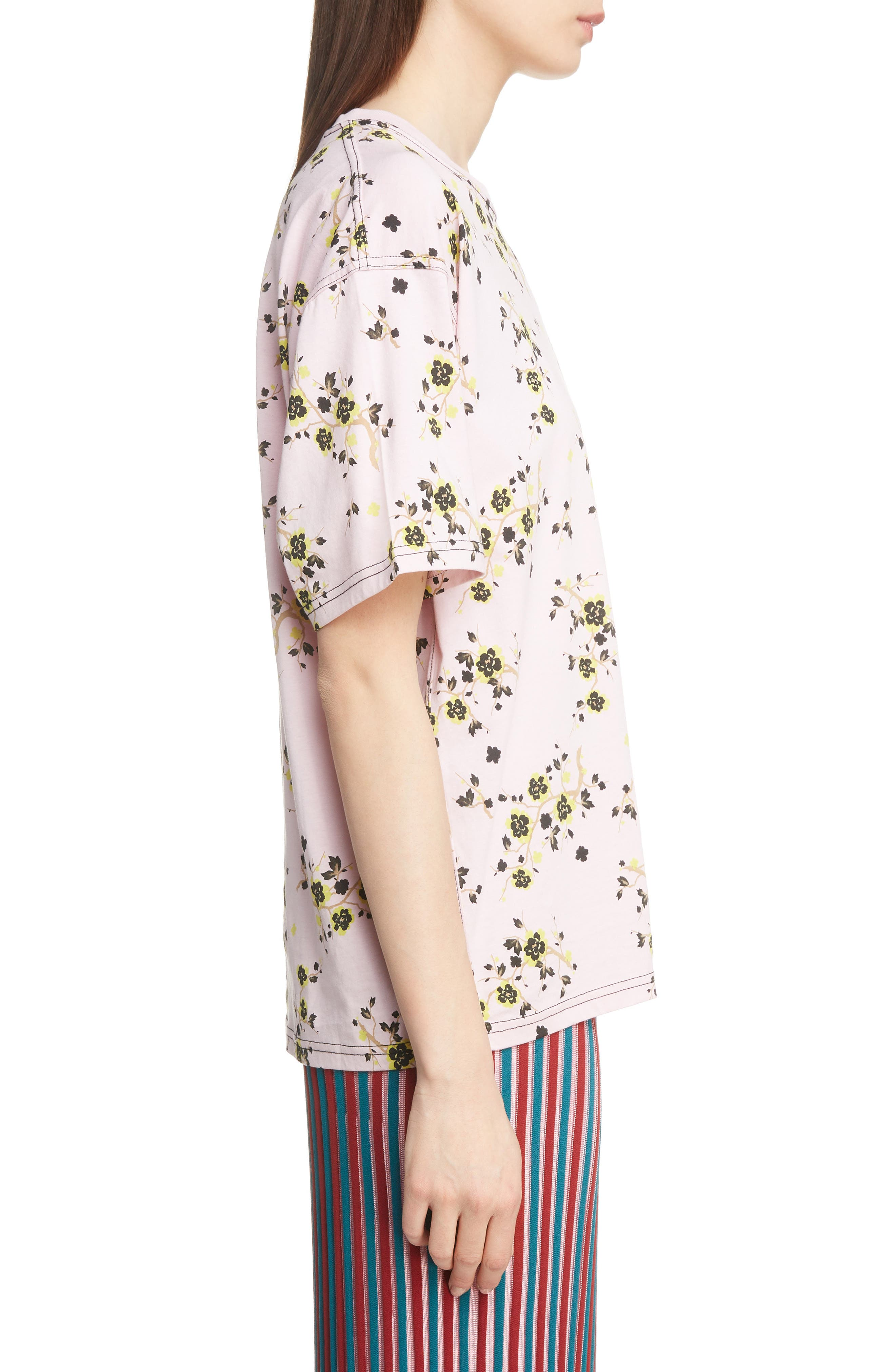Floral Oversized Tee,                             Alternate thumbnail 3, color,                             PASTEL PINK