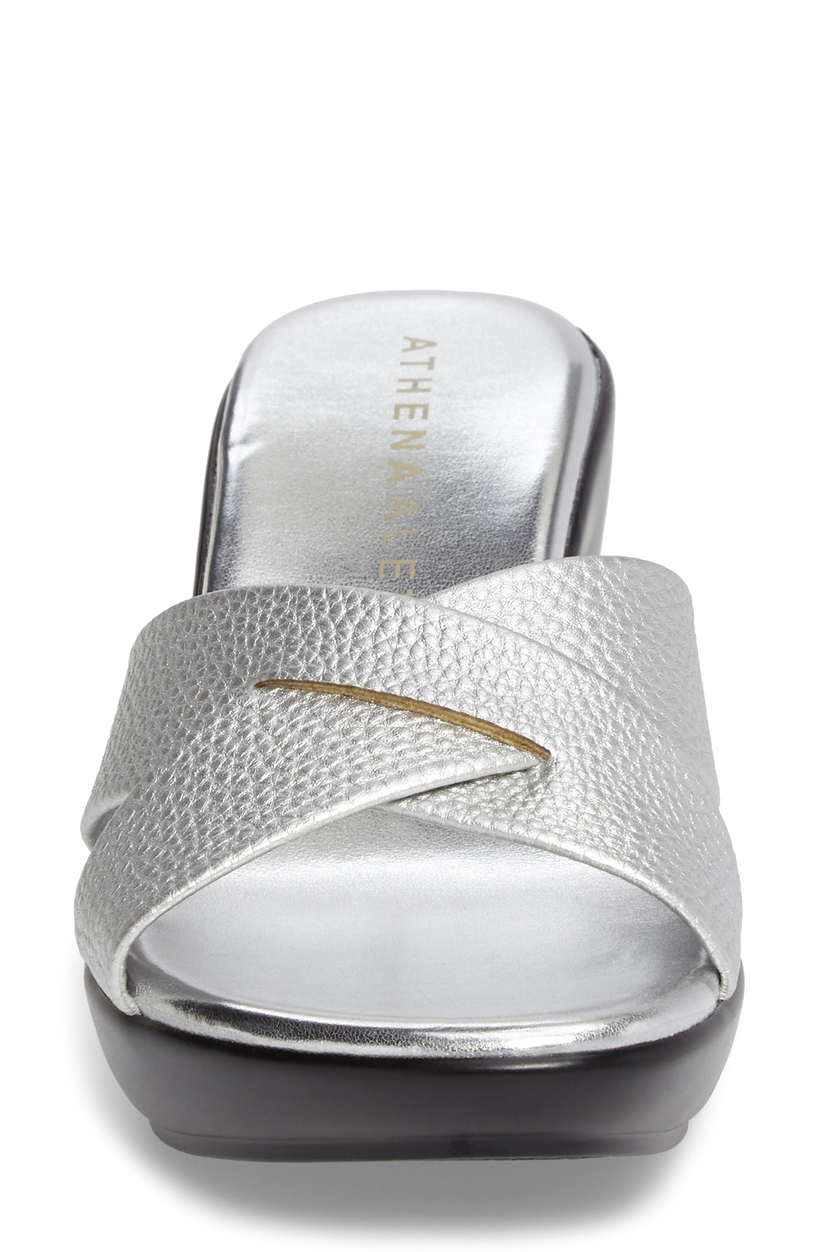 Verna Wedge Slide Sandal,                             Alternate thumbnail 4, color,                             SILVER FAUX LEATHER