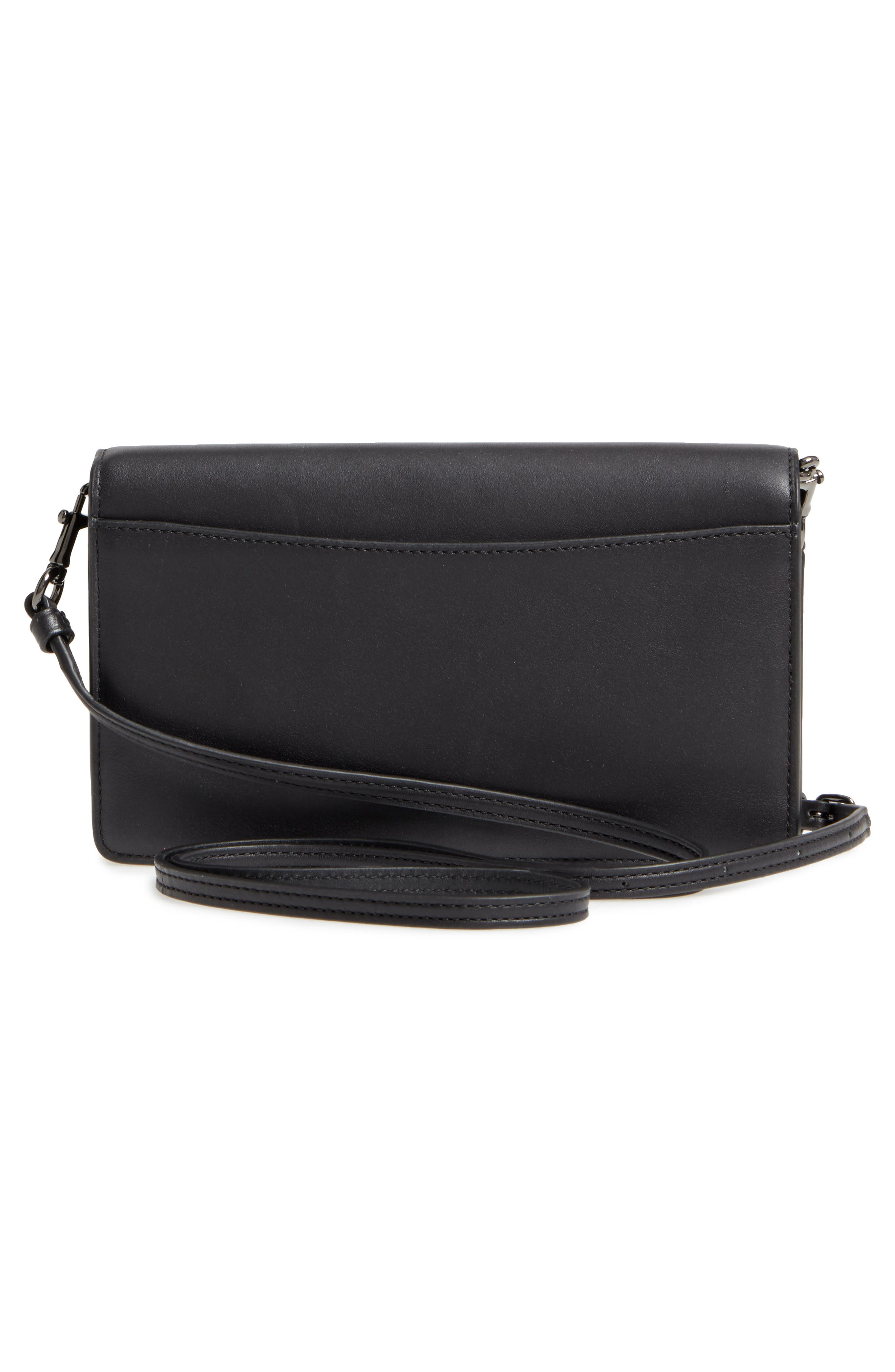 Calfskin Leather Foldover Convertible Clutch,                             Alternate thumbnail 3, color,                             009