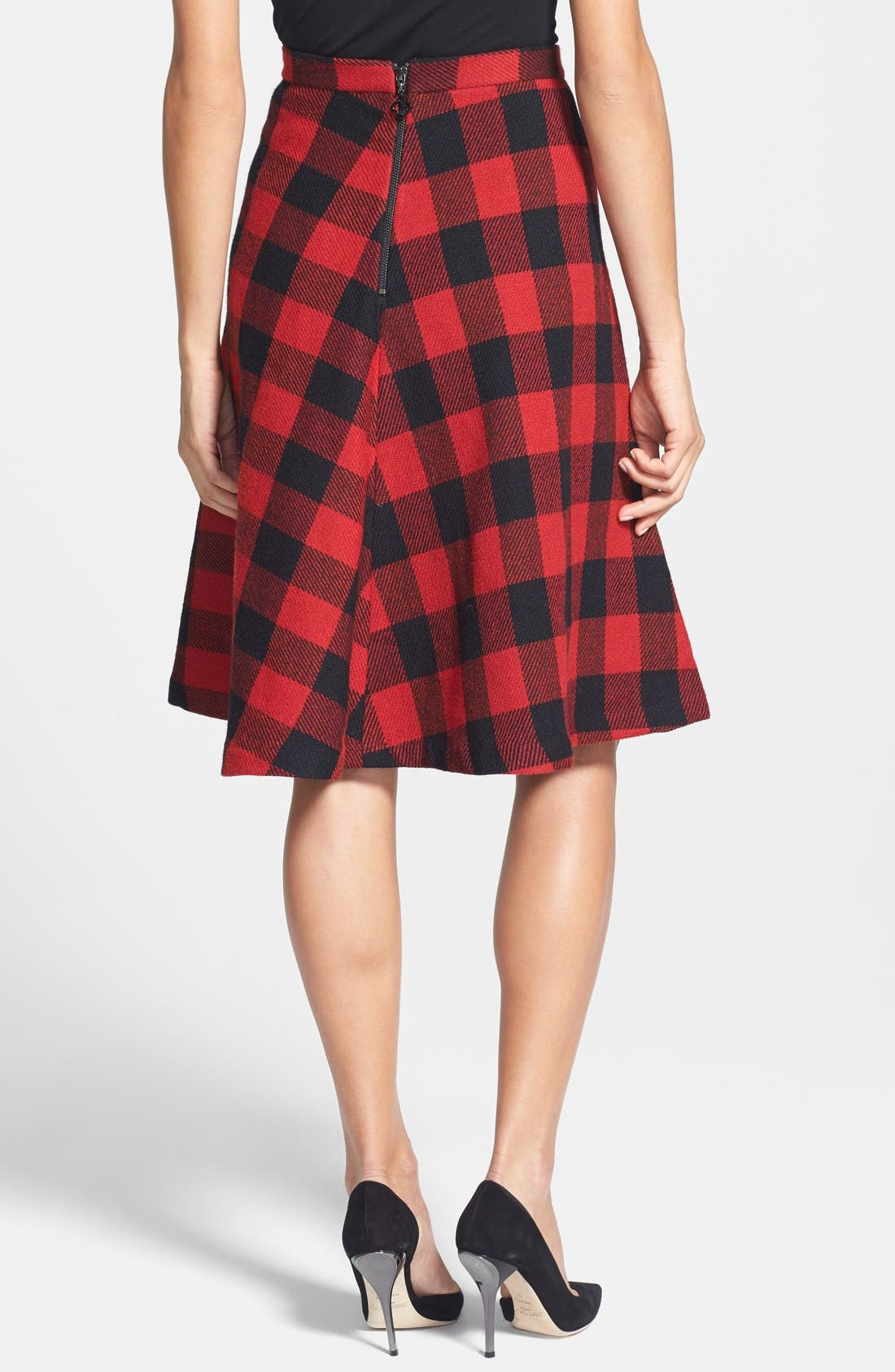 PINK TARTAN,                             Buffalo Plaid Circle Skirt,                             Alternate thumbnail 2, color,                             001