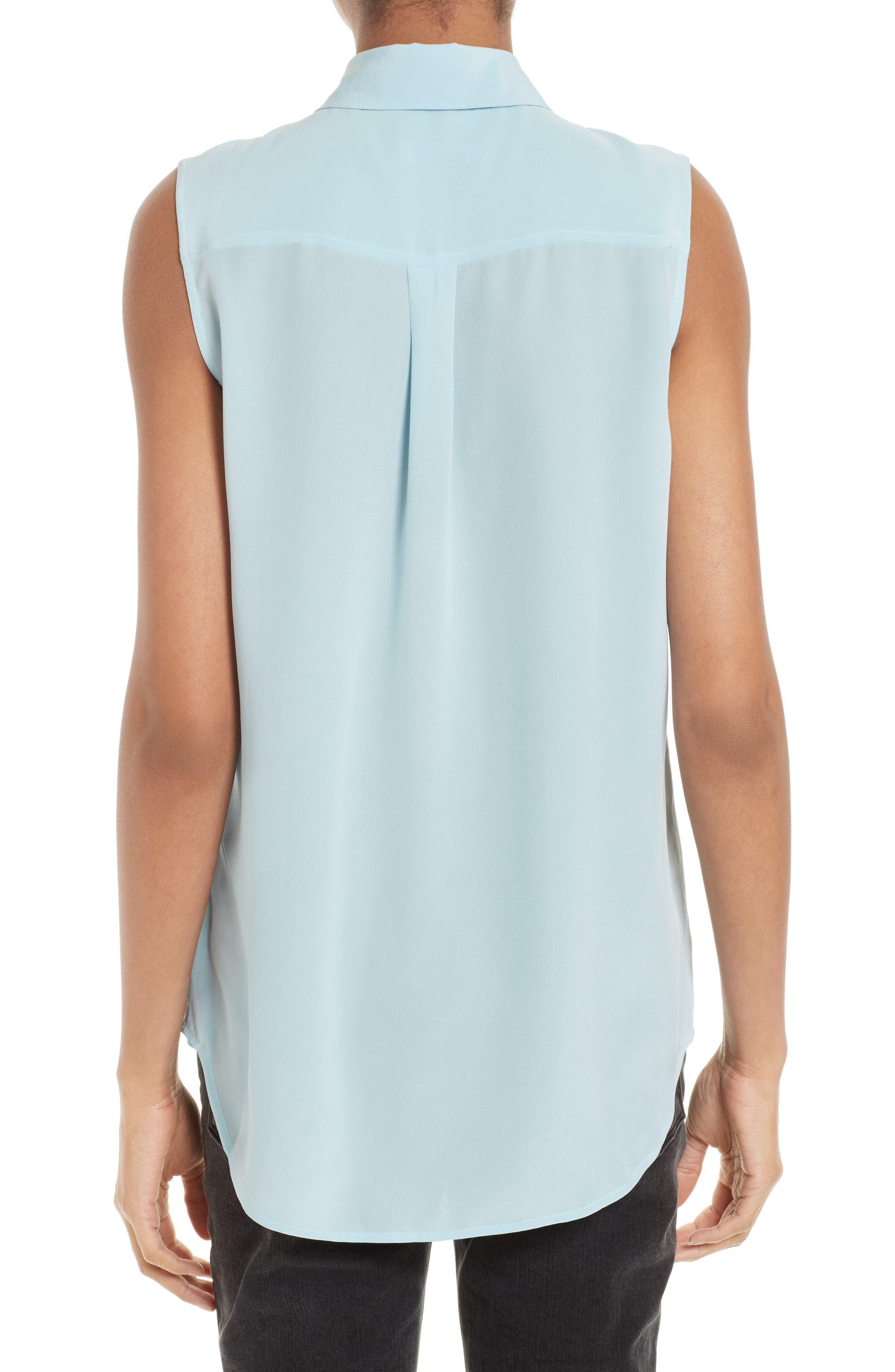 'Slim Signature' Sleeveless Silk Shirt,                             Alternate thumbnail 77, color,