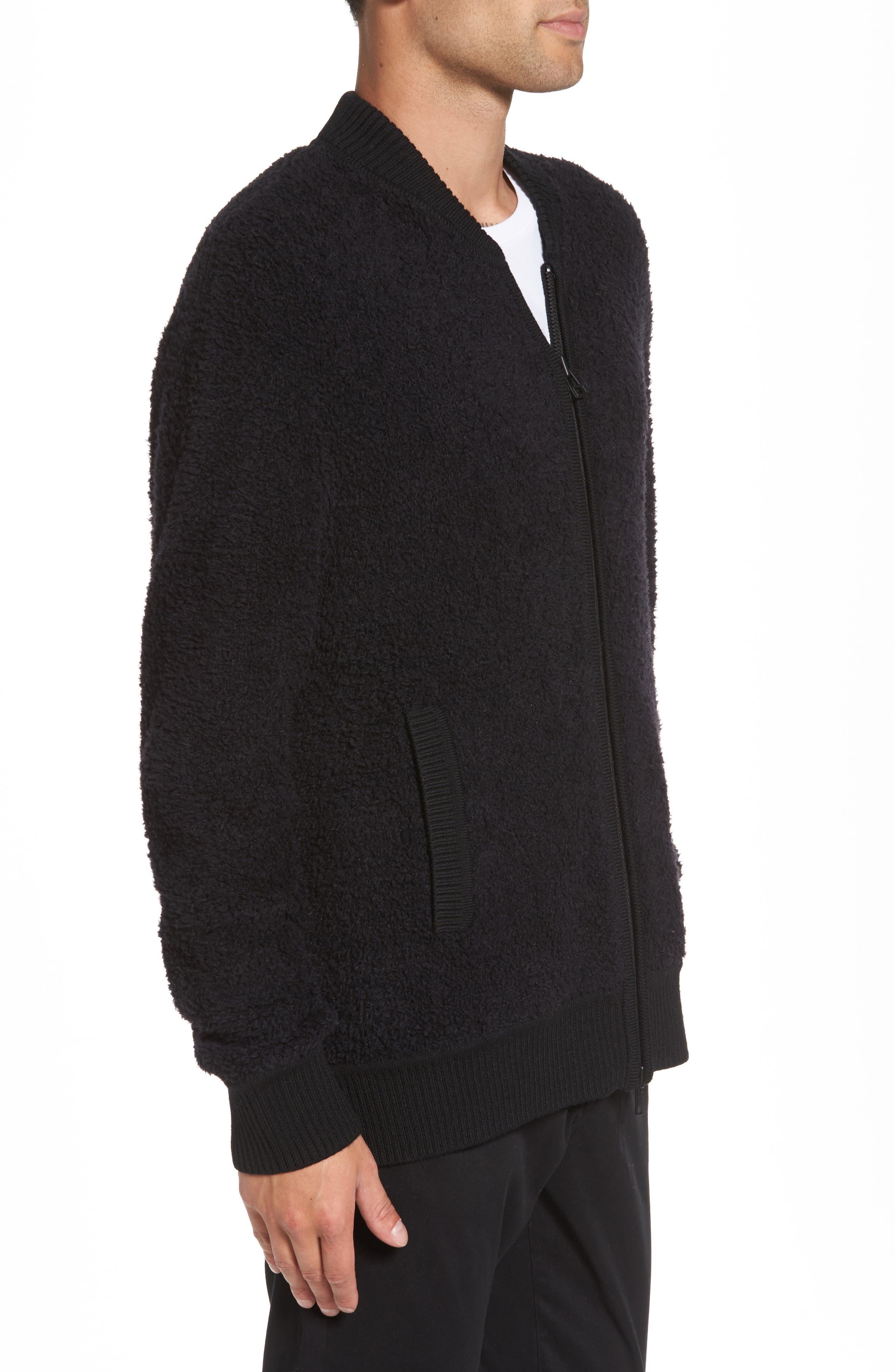 Fleece Wool Blend Bomber Jacket,                             Alternate thumbnail 3, color,                             001