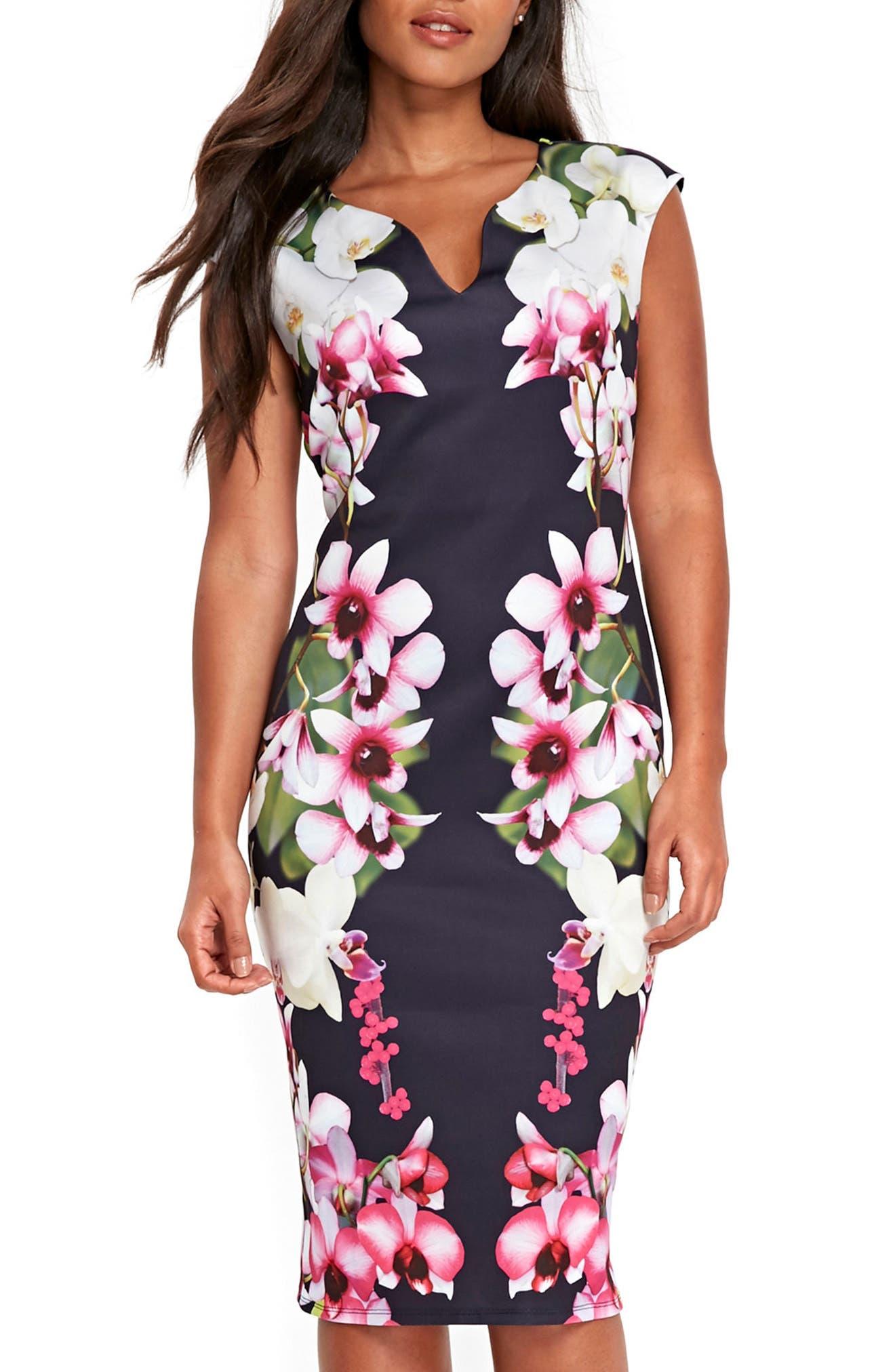 Summer Orchid Scuba Sheath Dress,                             Main thumbnail 1, color,                             400