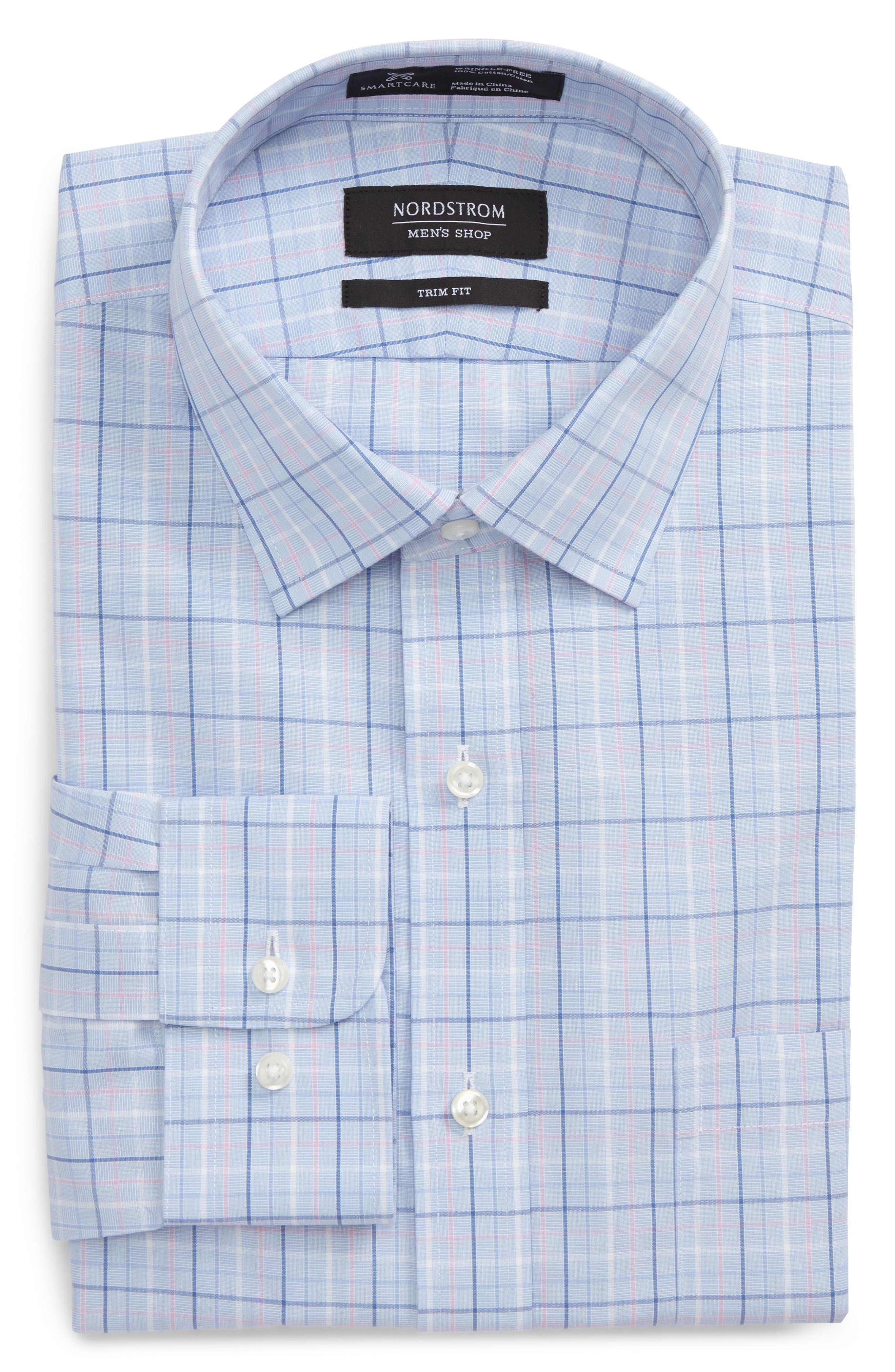 Smartcare<sup>™</sup> Trim Fit Plaid Dress Shirt,                         Main,                         color, 680