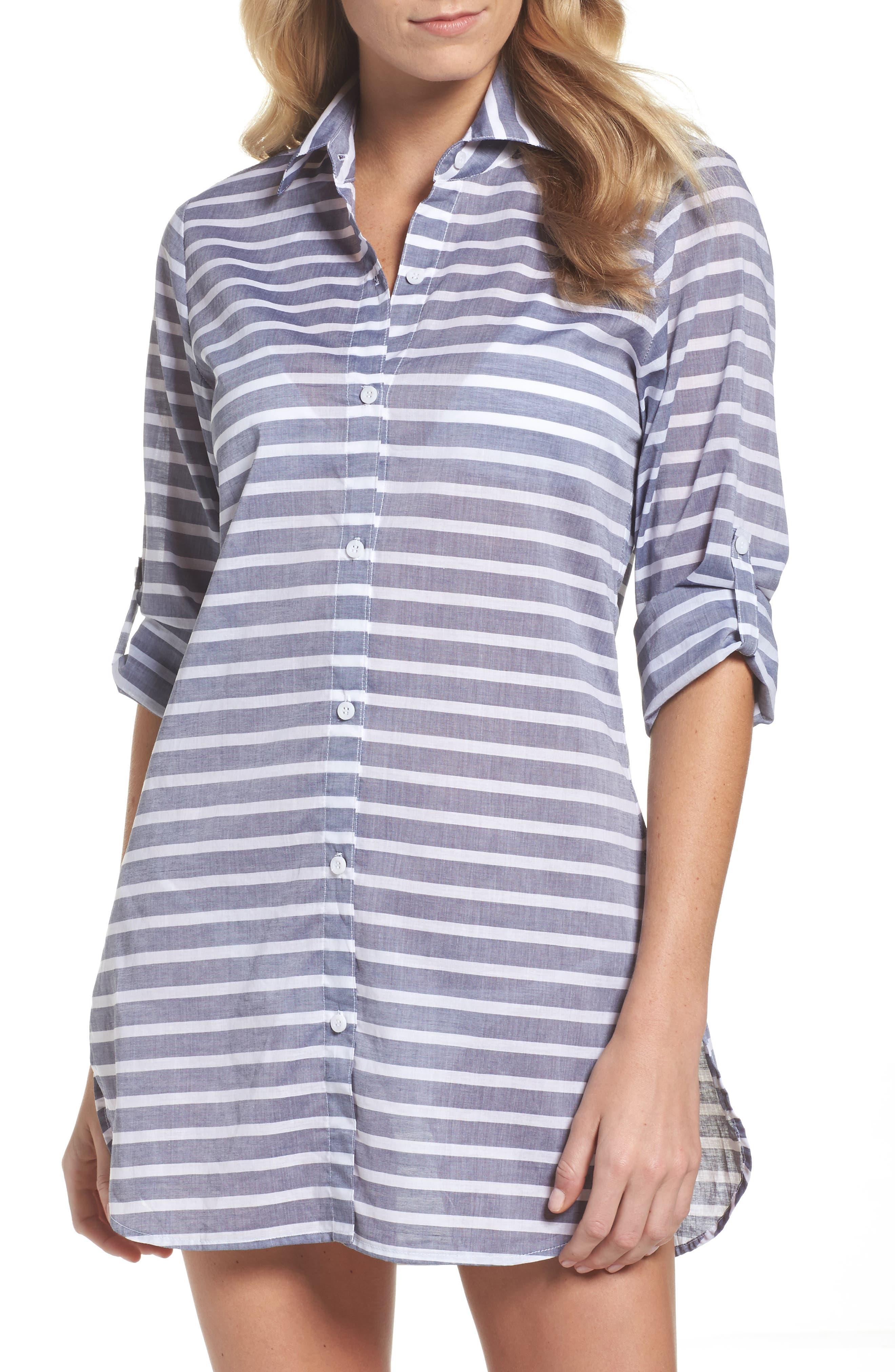 Brenton Stripe Boyfriend Shirt Cover-Up,                             Main thumbnail 1, color,                             401