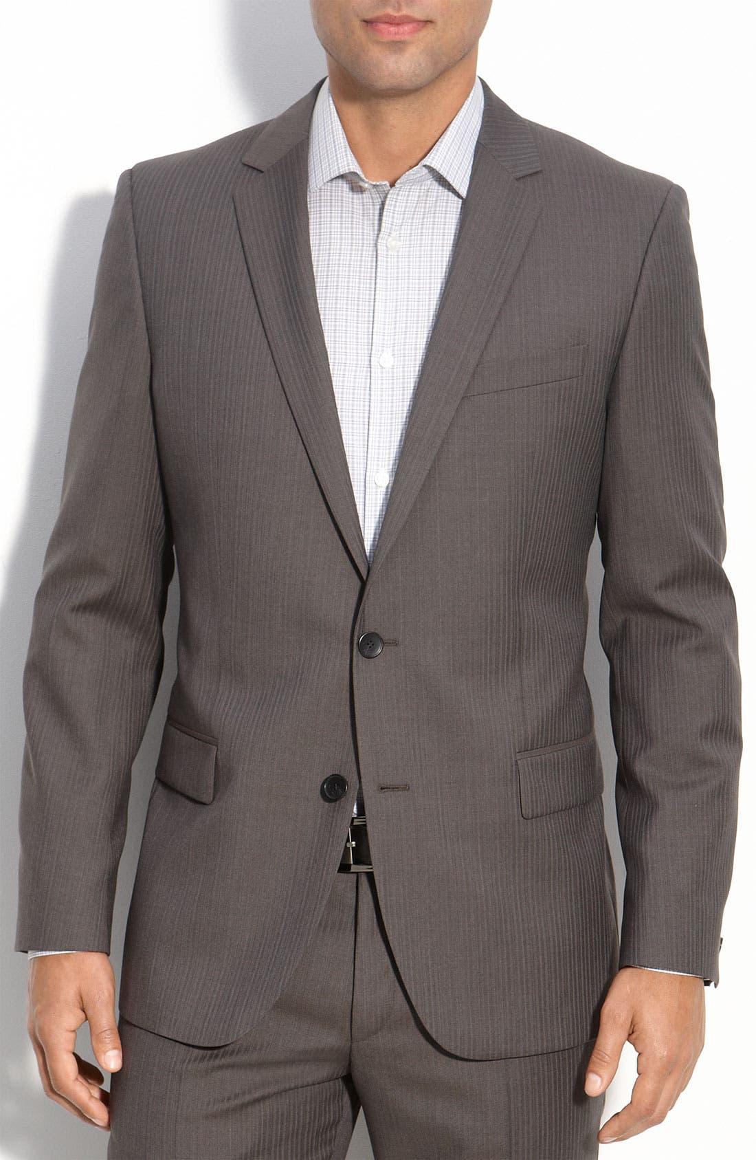 ZZDNUHUGO BOSS,                             HUGO 'Amaro/Heise' Grey Shadow Stripe Wool Suit,                             Main thumbnail 1, color,                             030