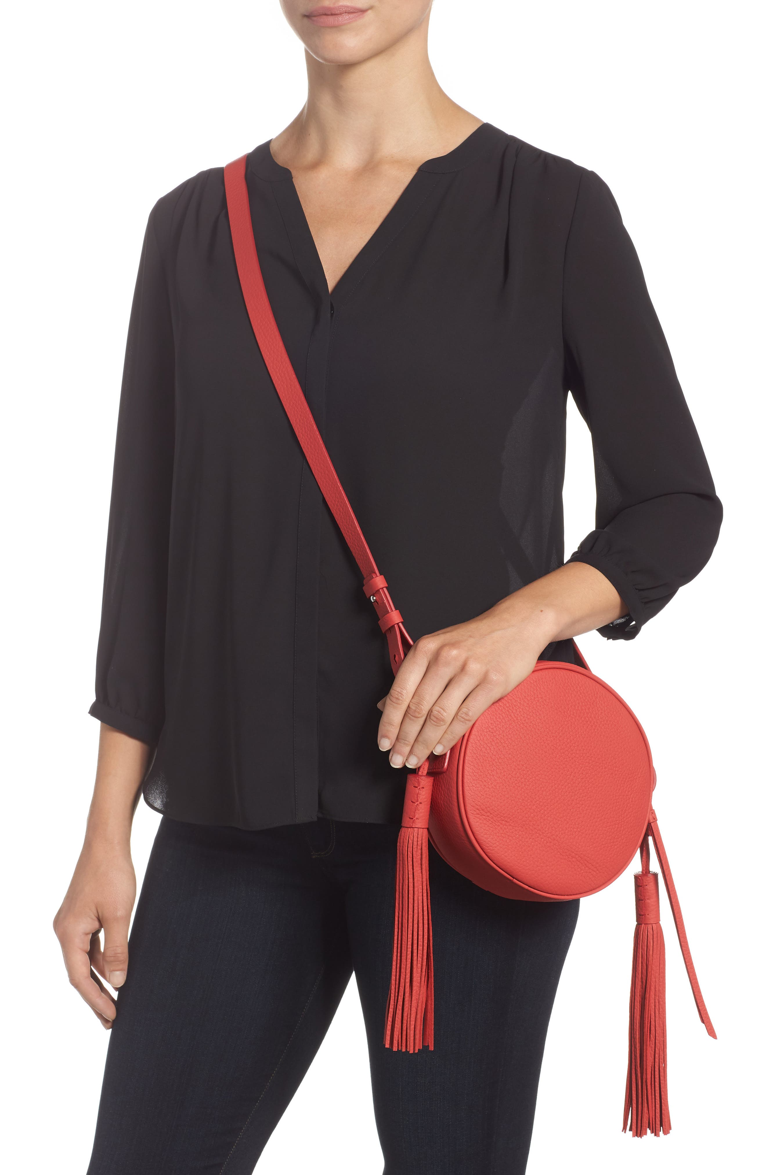 Kepi Circle Leather Crossbody Bag,                             Alternate thumbnail 2, color,                             CORAL RED