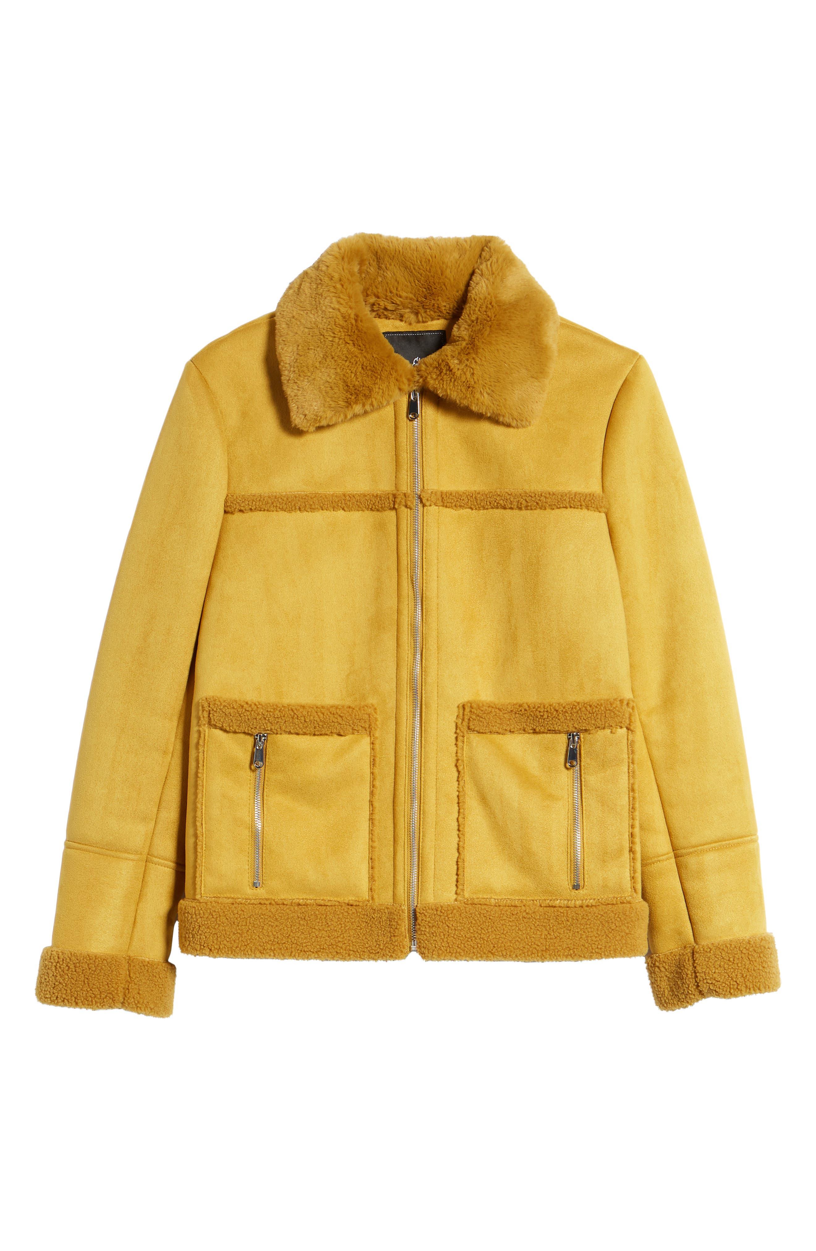 Faux Shearling Zip Front Jacket,                             Alternate thumbnail 6, color,                             702