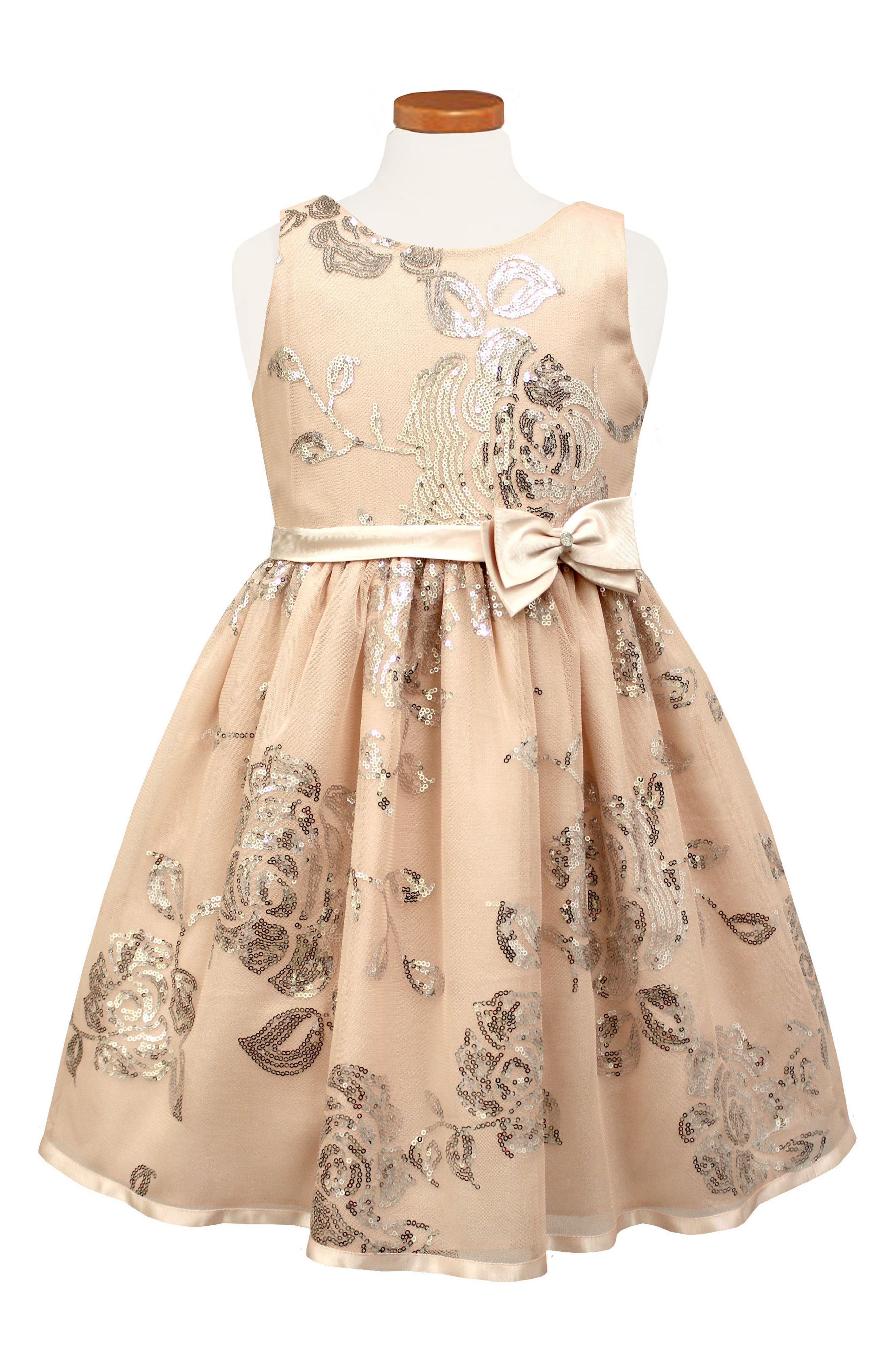 Sequin Floral Fit & Flare Dress,                             Alternate thumbnail 2, color,
