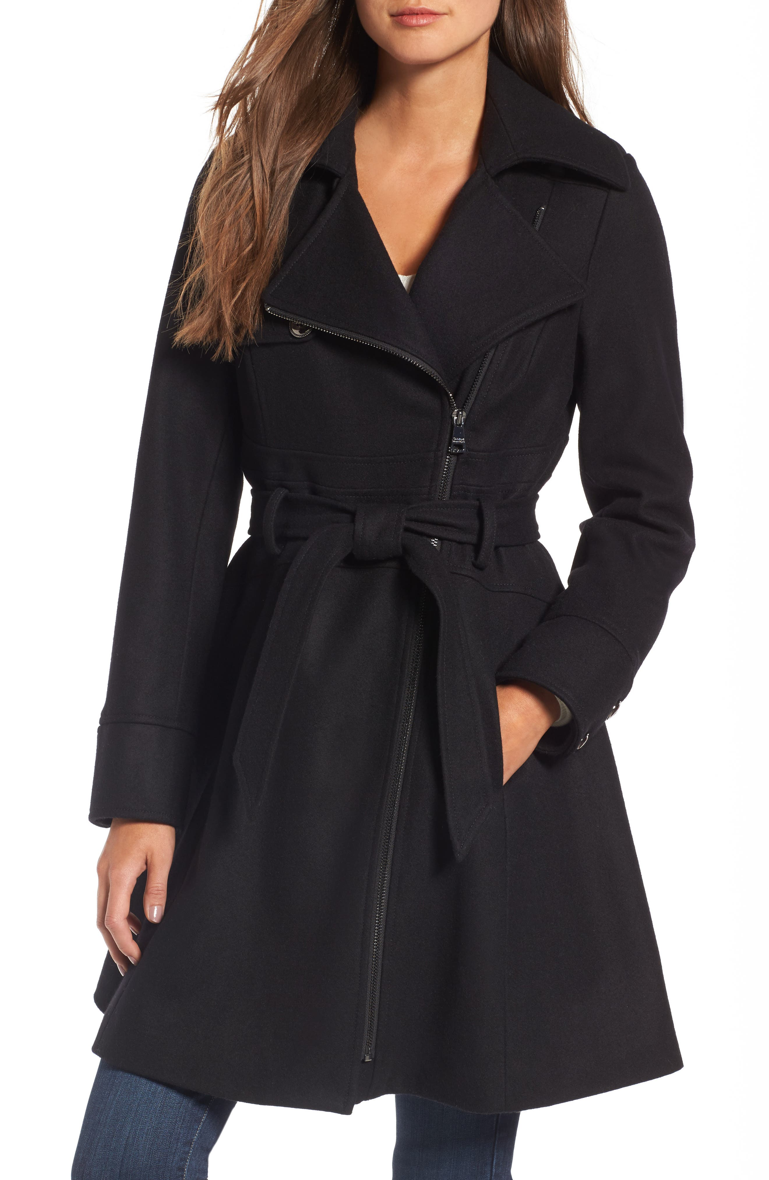 Fit & Flare Coat,                         Main,                         color, 001