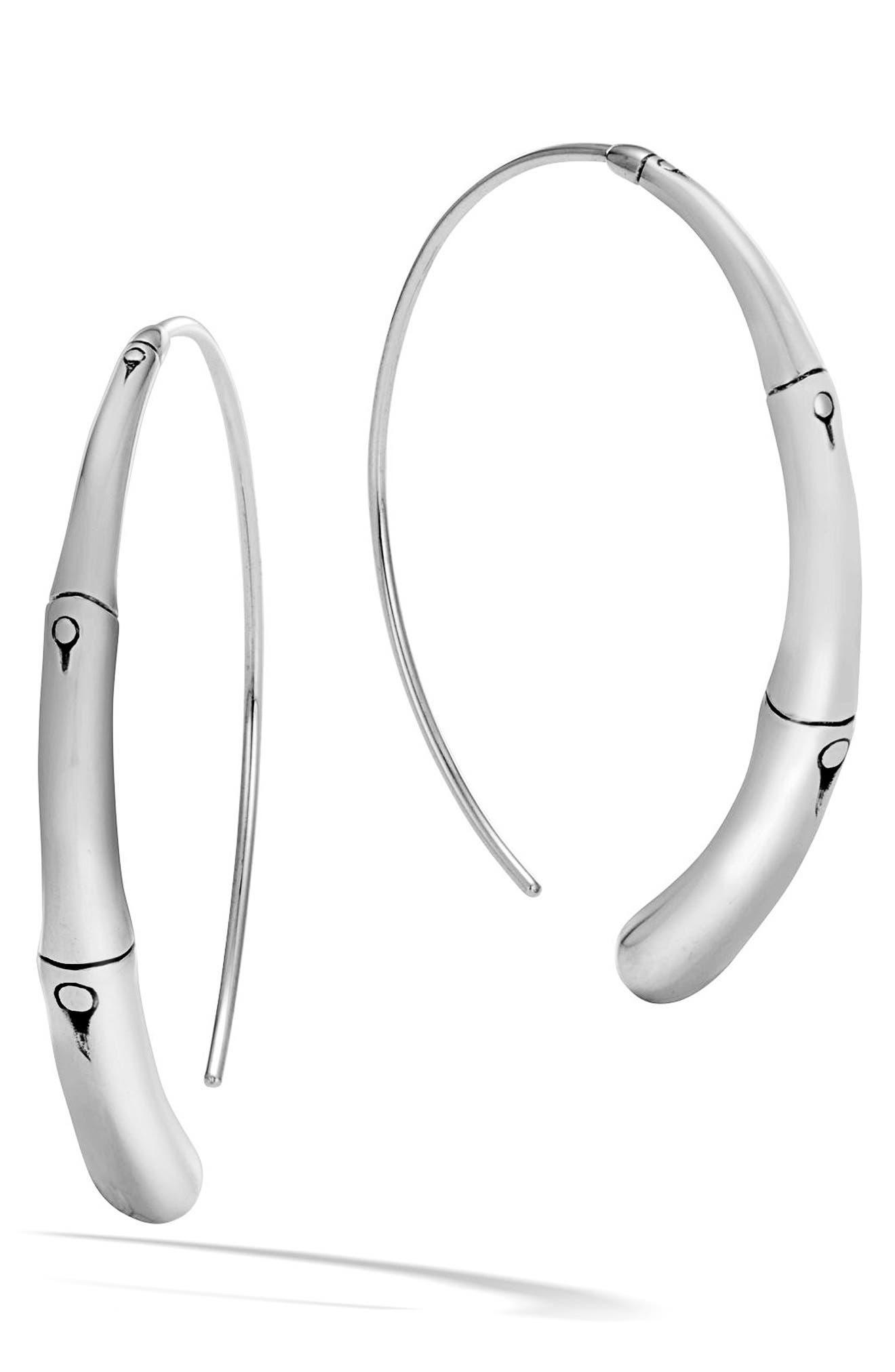 Bamboo Large Hoop Earrings,                             Main thumbnail 1, color,                             SILVER