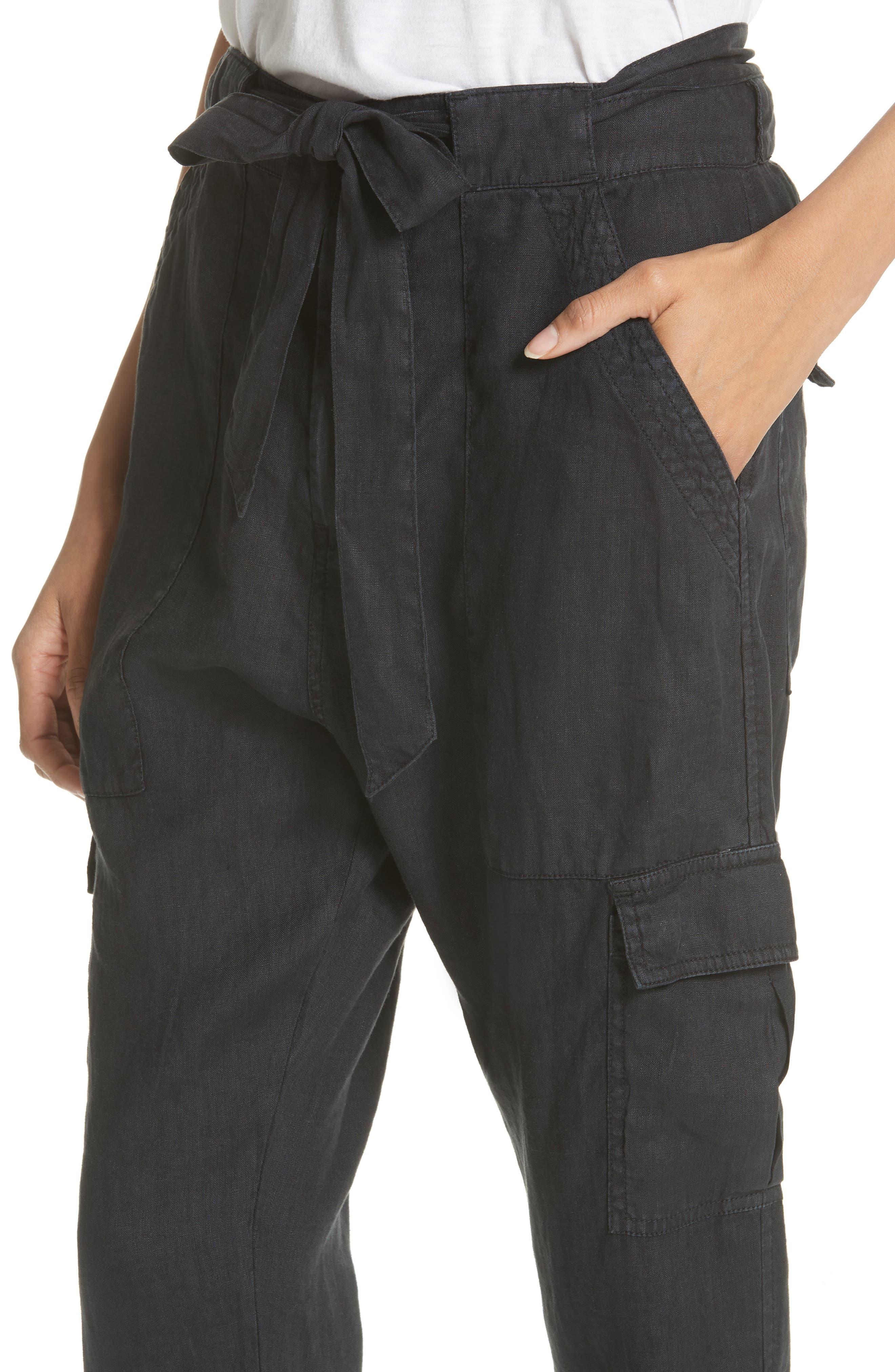 Erlette Linen Tie Cuff Crop Pants,                             Alternate thumbnail 7, color,