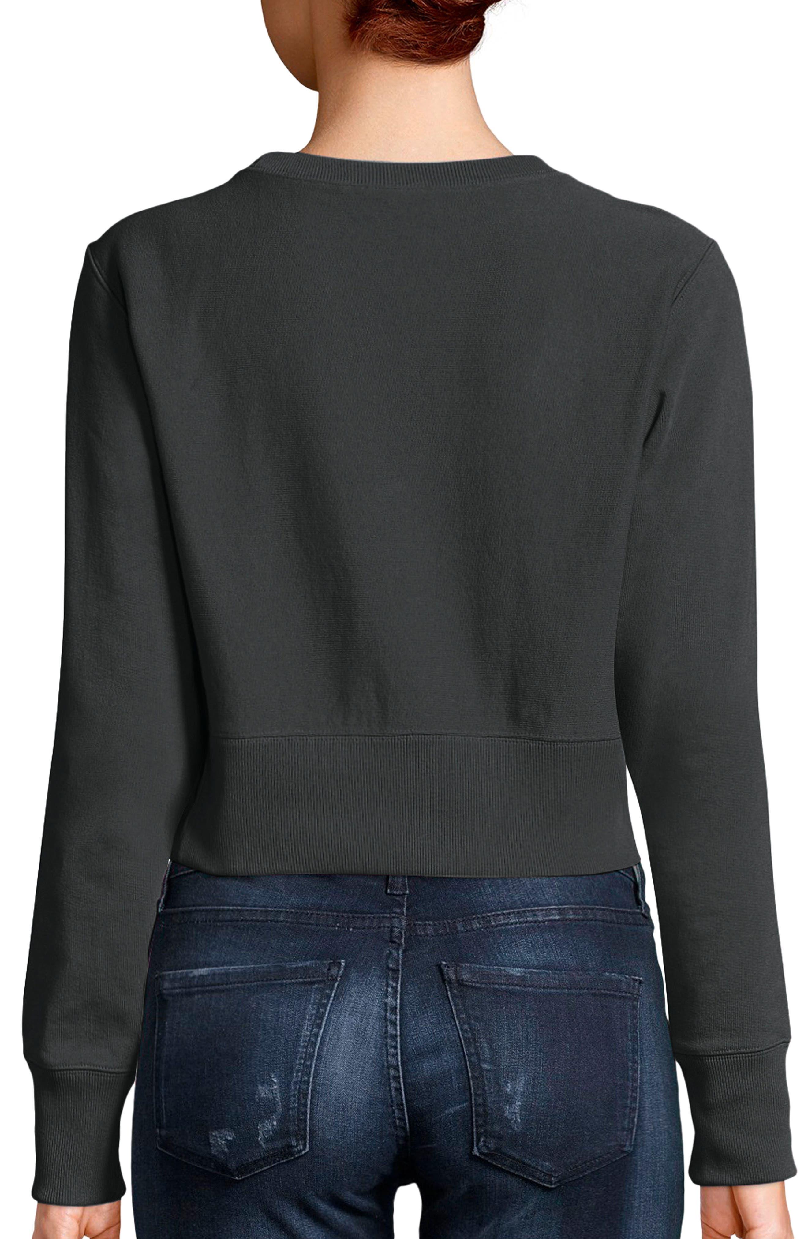Reverse Weave Crop Sweatshirt,                             Alternate thumbnail 2, color,                             001
